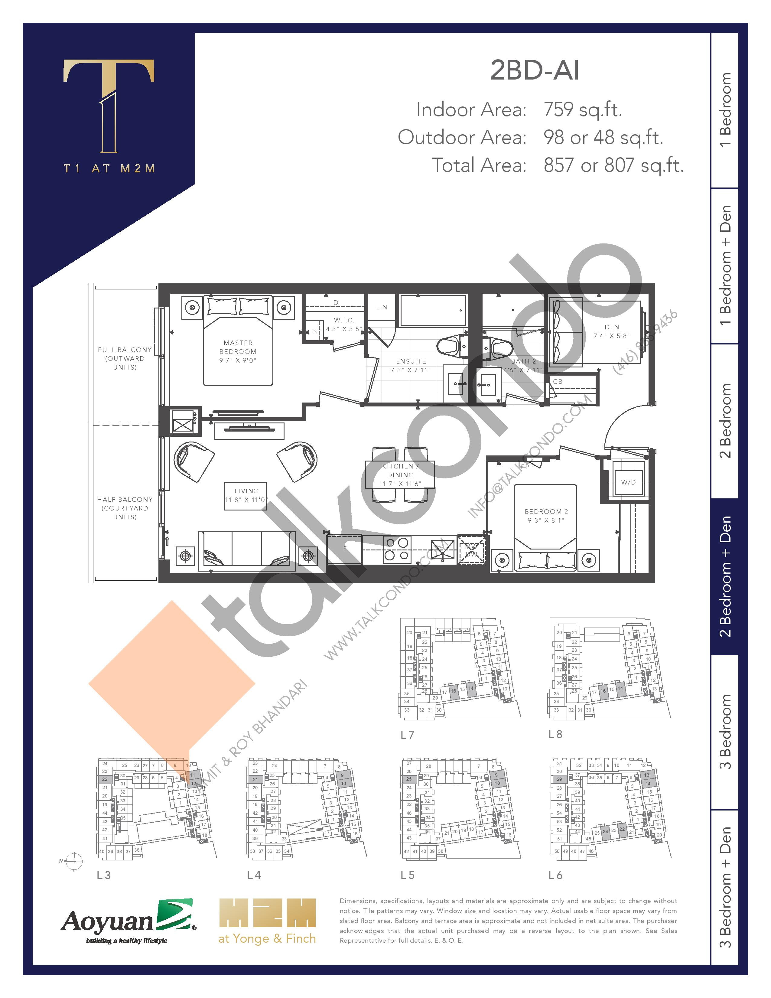 2BD-AI (Tower) Floor Plan at T1 at M2M Condos - 759 sq.ft