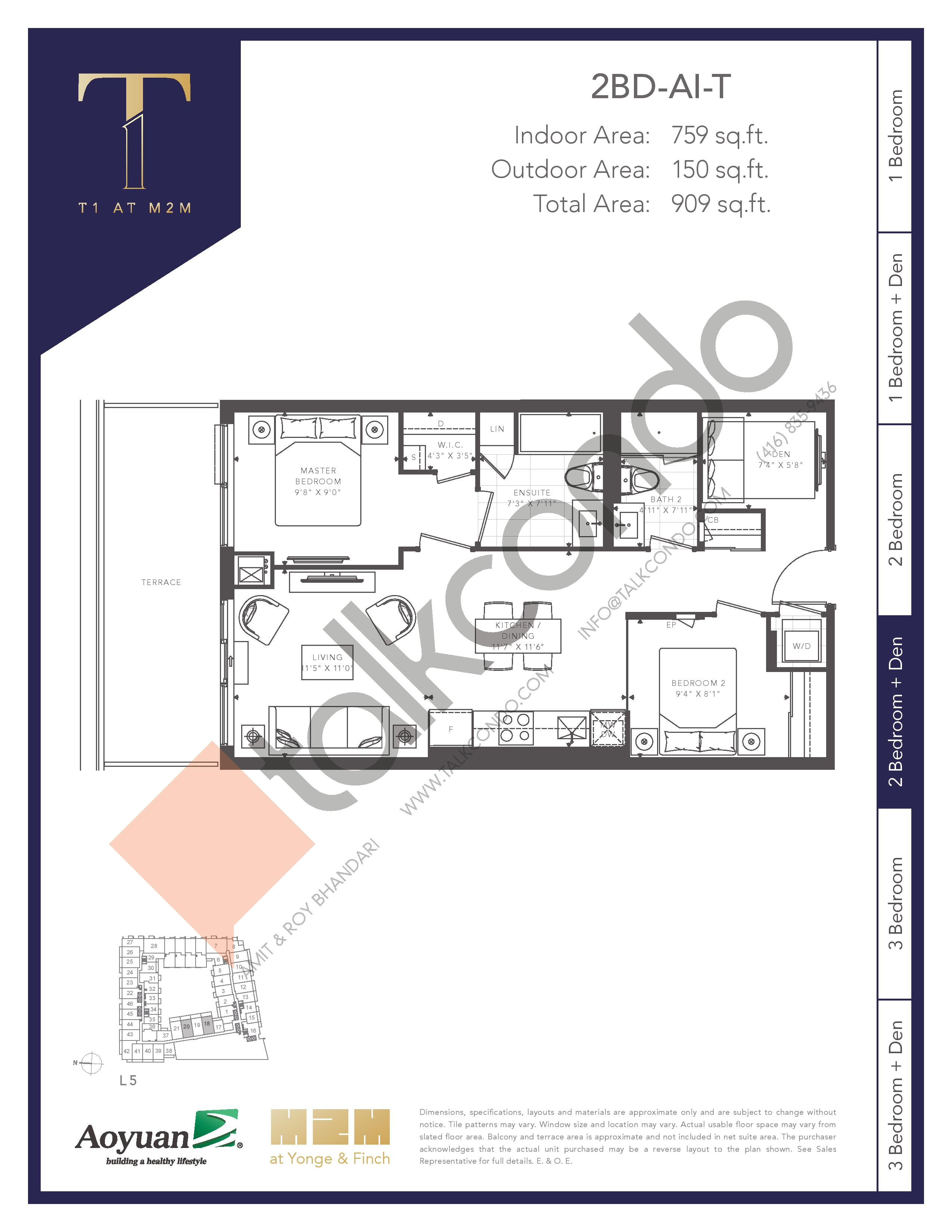 2BD-AI-T (Tower) Floor Plan at T1 at M2M Condos - 759 sq.ft