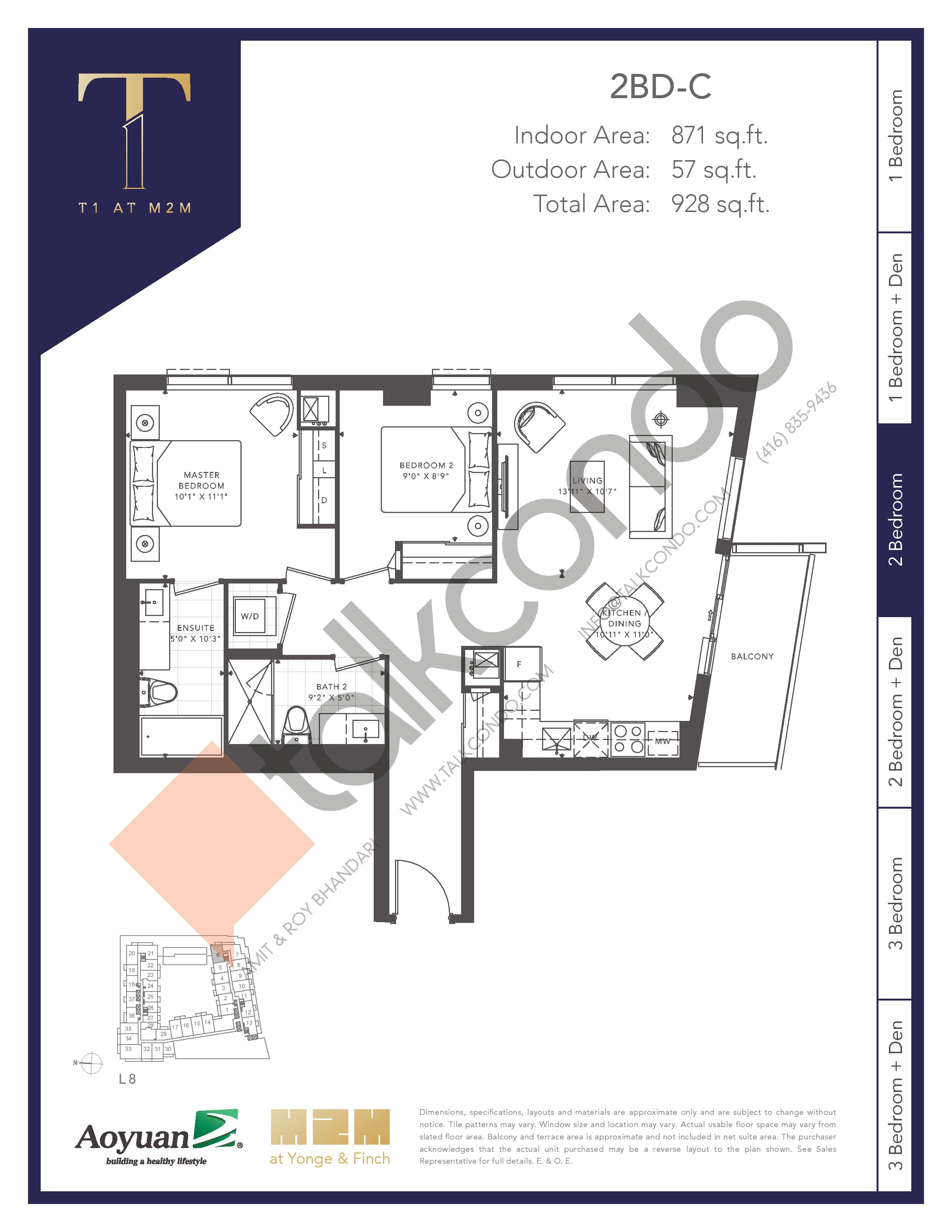 2BD-C Floor Plan at T1 at M2M Condos - 871 sq.ft