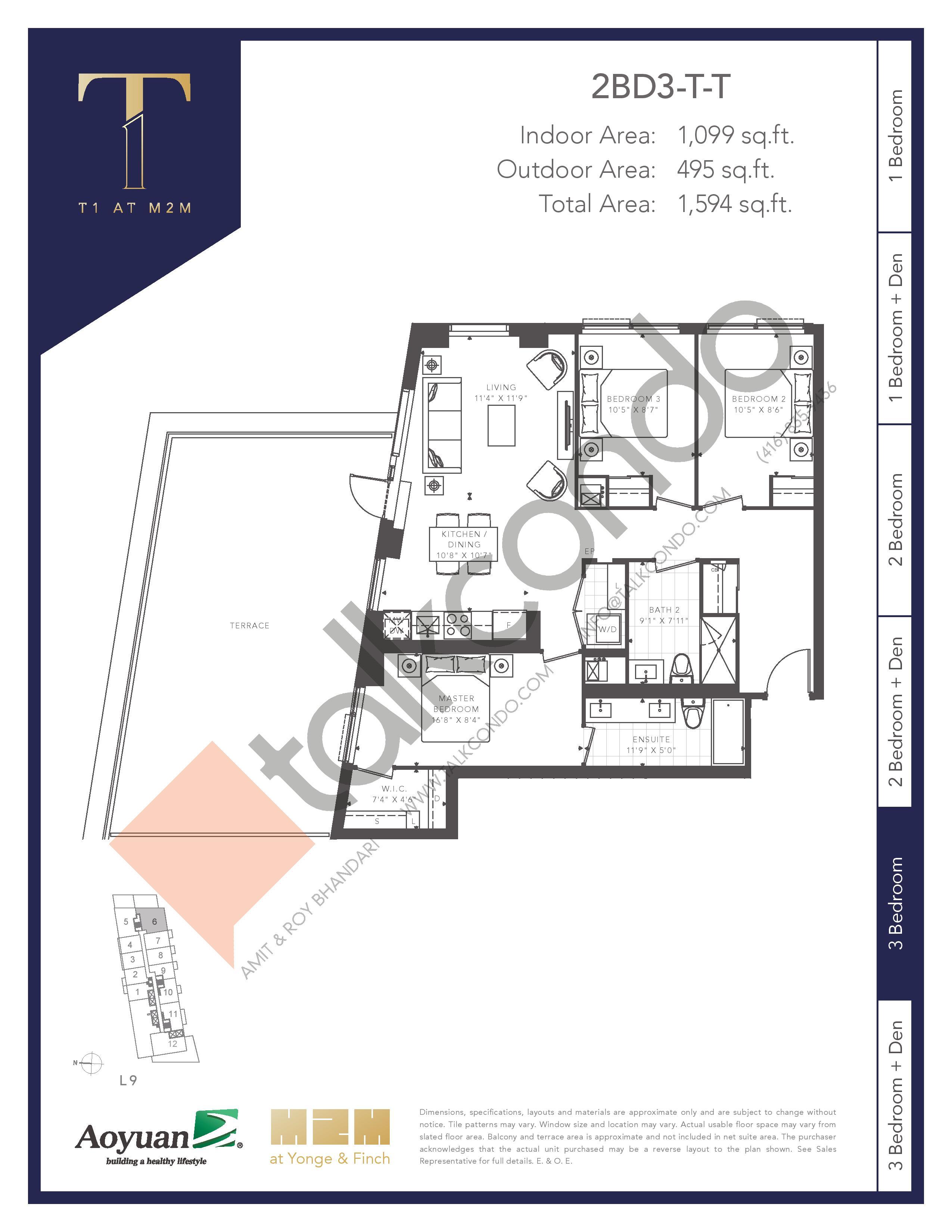2BD3-T-T (Tower) Floor Plan at T1 at M2M Condos - 1099 sq.ft