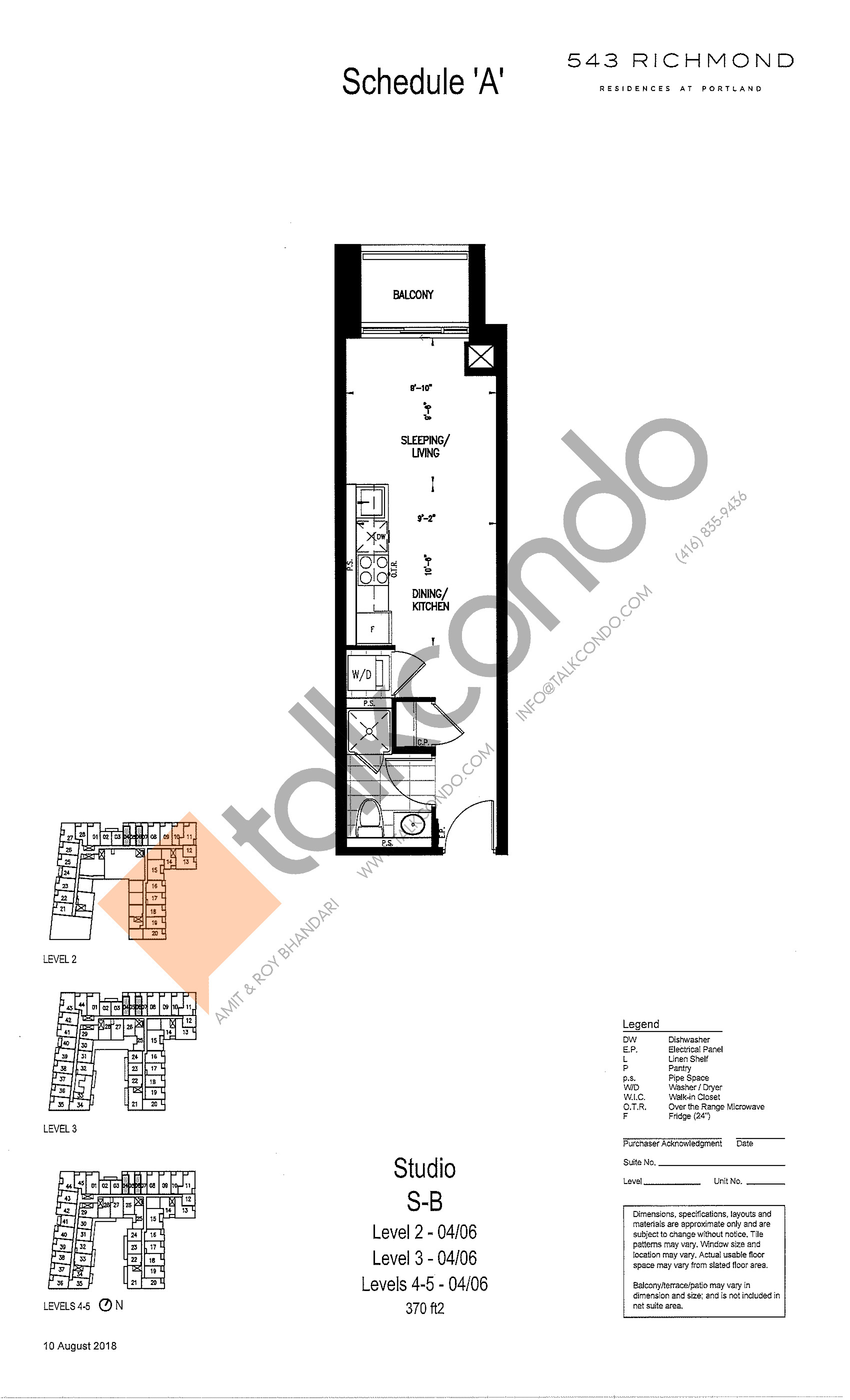 S-B Floor Plan at 543 Richmond St Condos - 370 sq.ft
