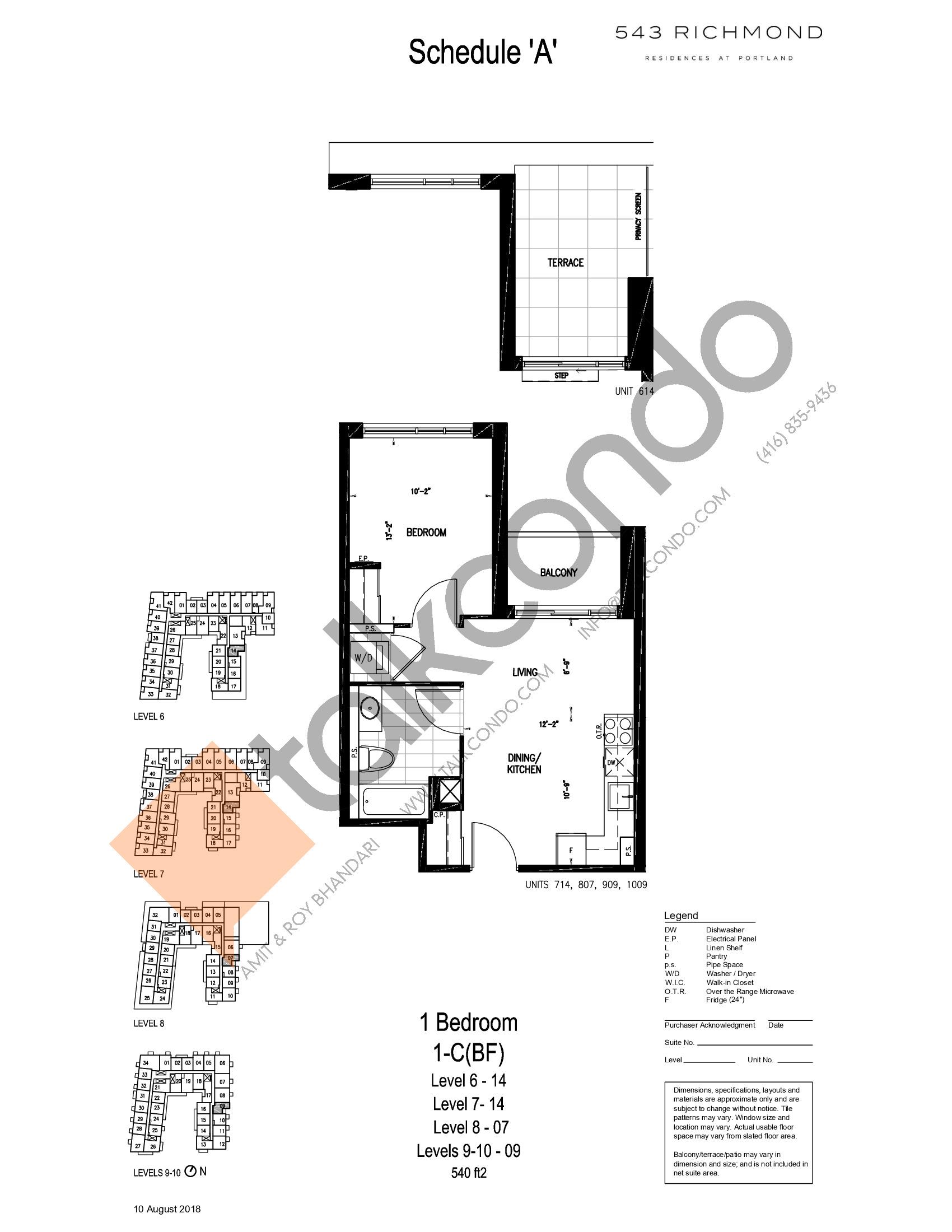 1-C(BF) Floor Plan at 543 Richmond St Condos - 540 sq.ft