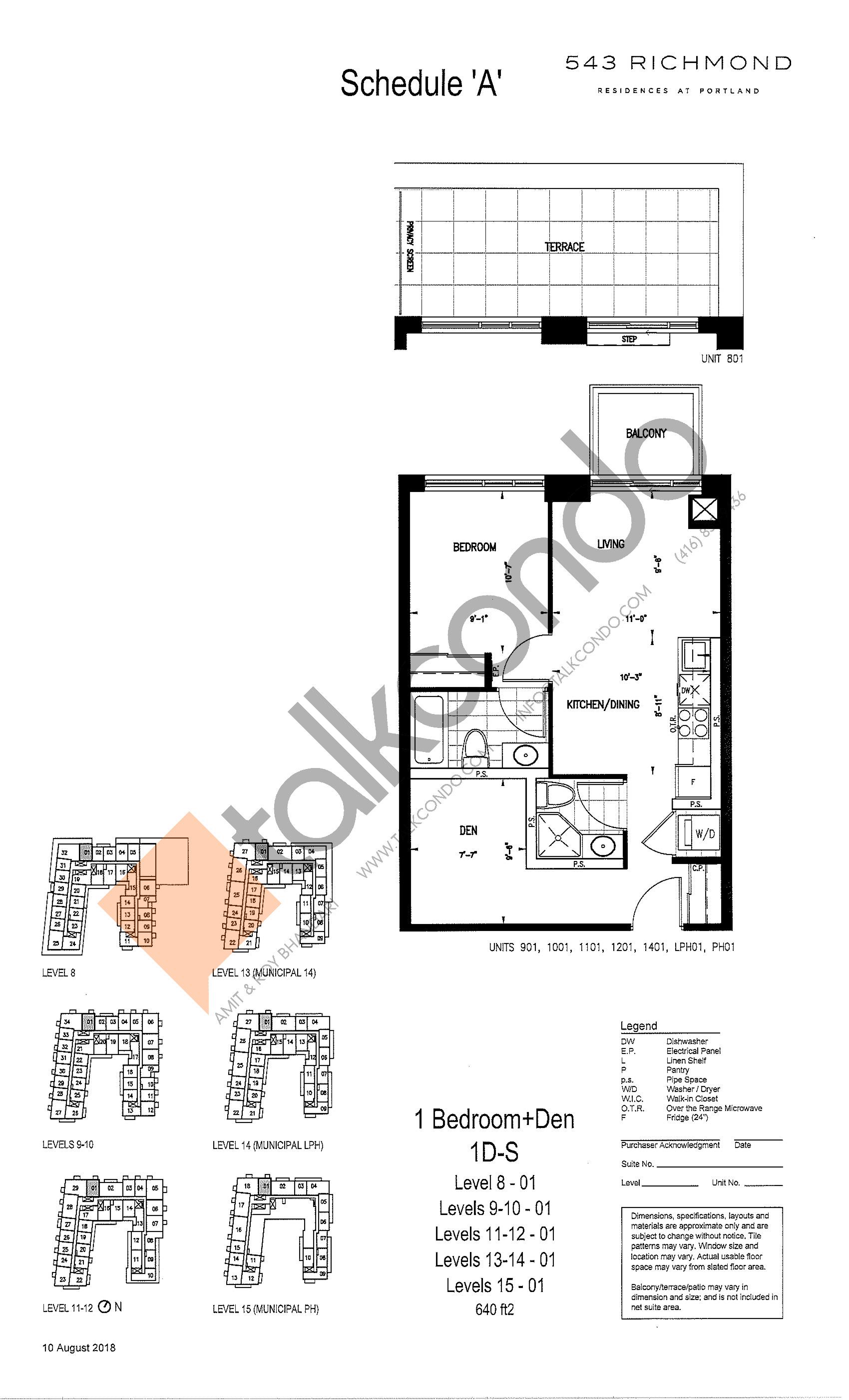1D-S Floor Plan at 543 Richmond St Condos - 640 sq.ft