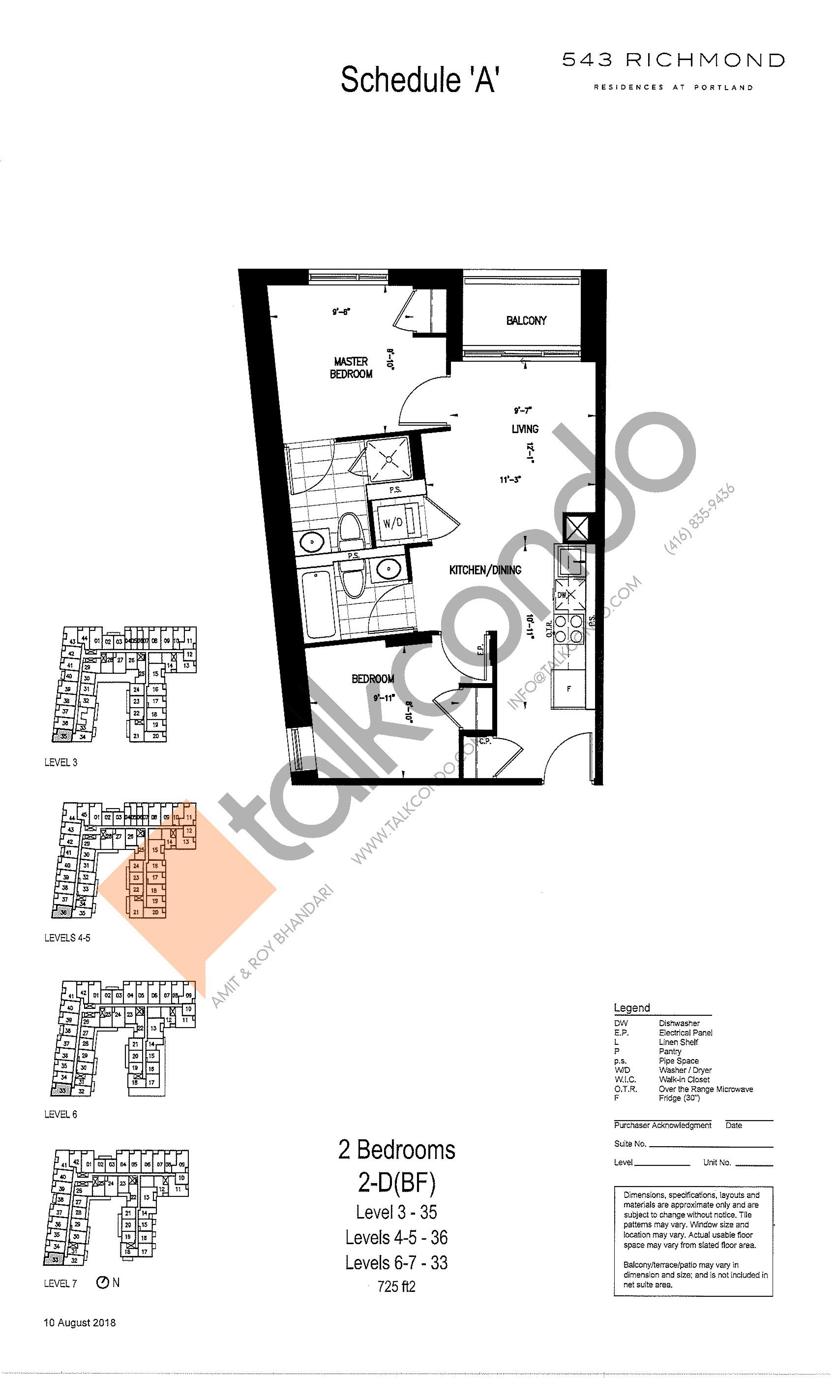 2-D(BF) Floor Plan at 543 Richmond St Condos - 725 sq.ft