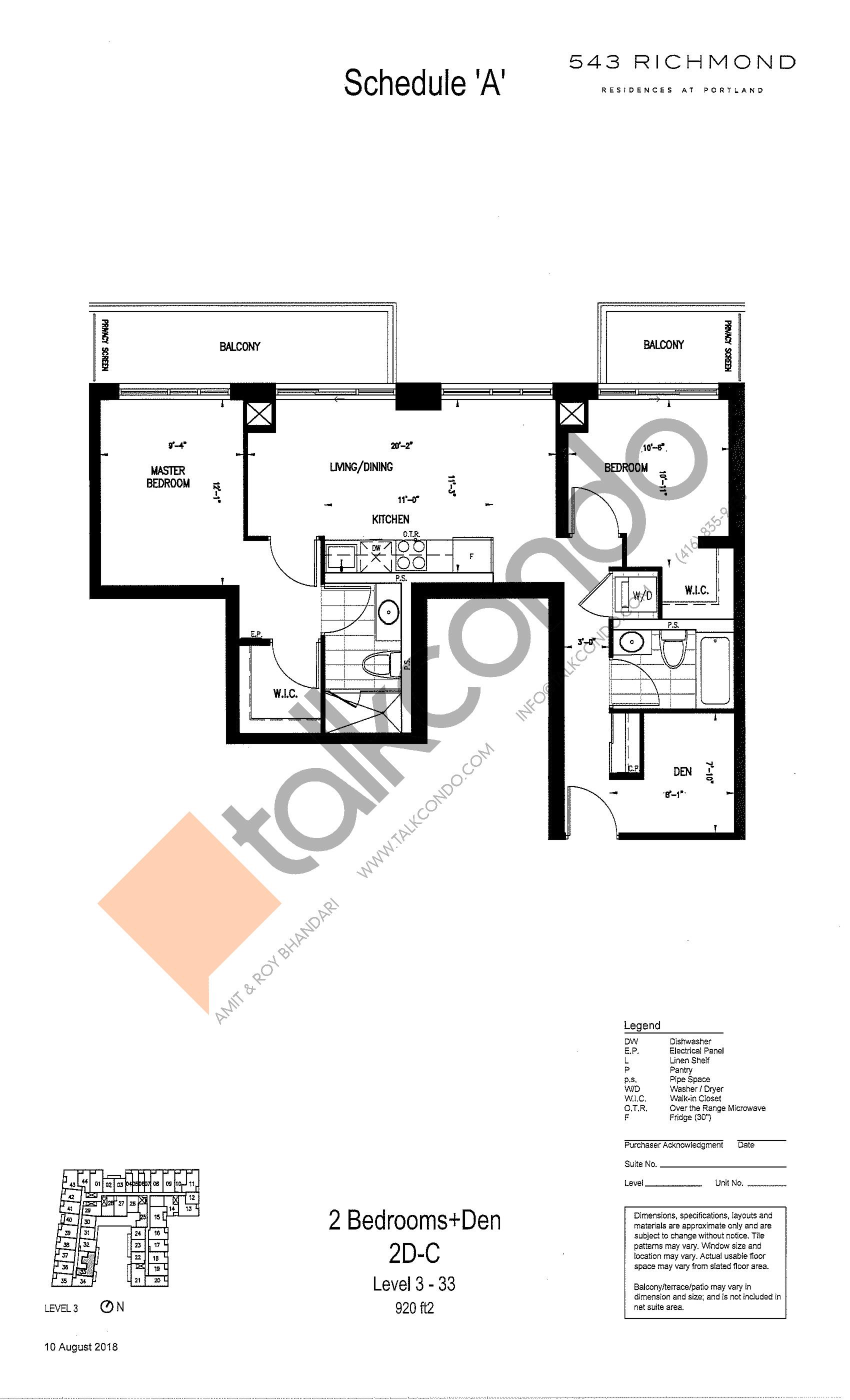 2D-C Floor Plan at 543 Richmond St Condos - 920 sq.ft