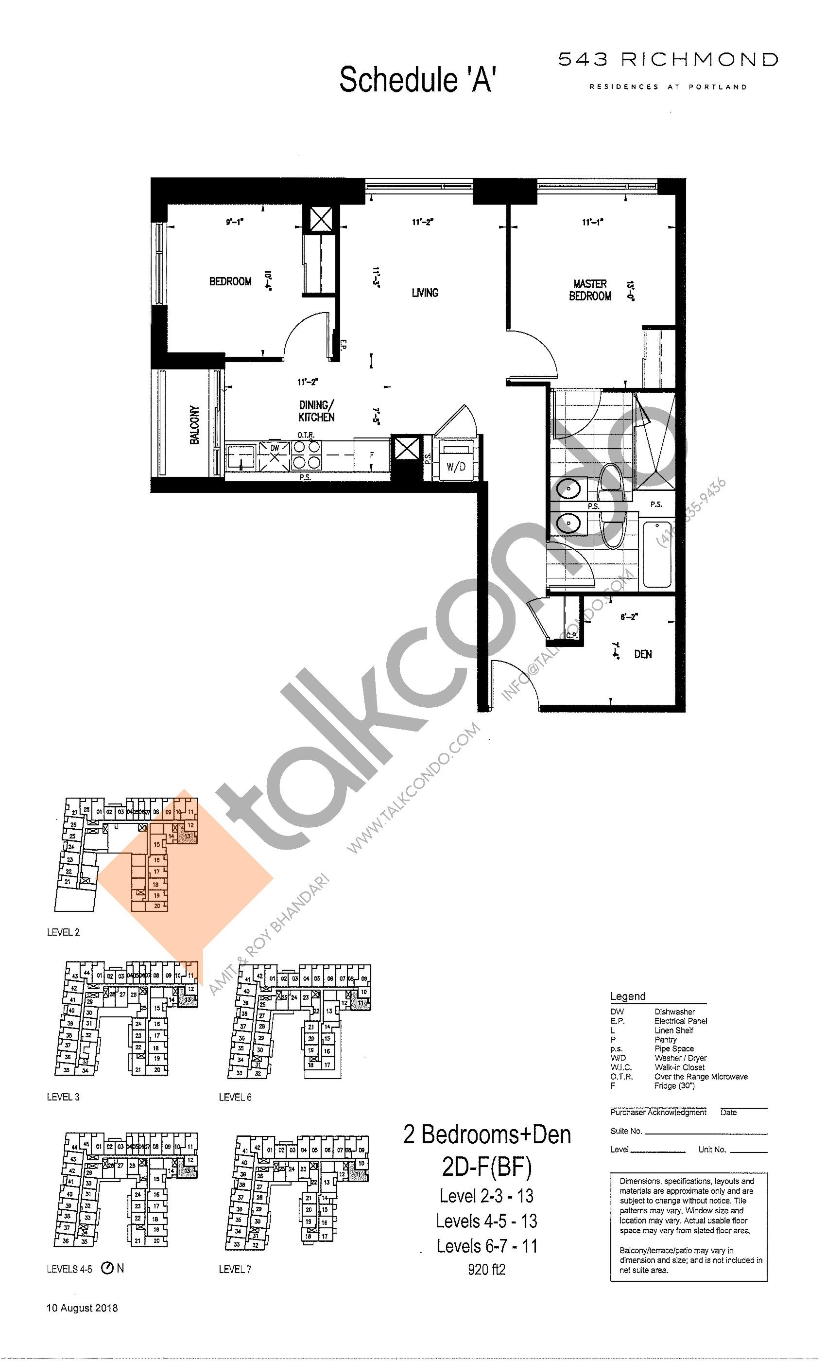 2D-F(BF) Floor Plan at 543 Richmond St Condos - 920 sq.ft