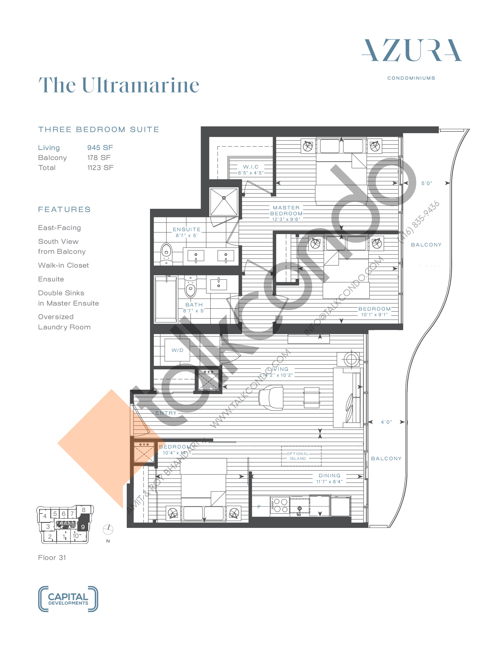 The Ultramarine (Terrace) Floor Plan at Azura Condos - 945 sq.ft