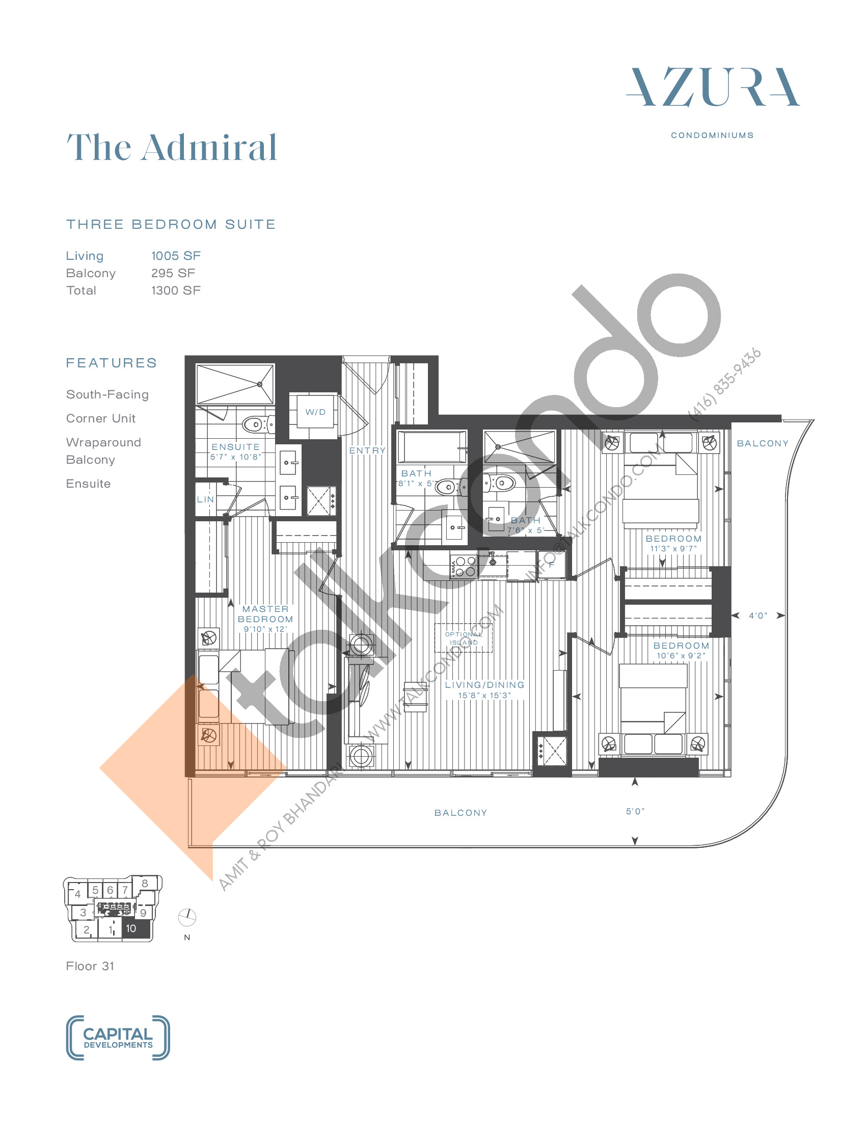 The Admiral (Terrace) Floor Plan at Azura Condos - 1005 sq.ft