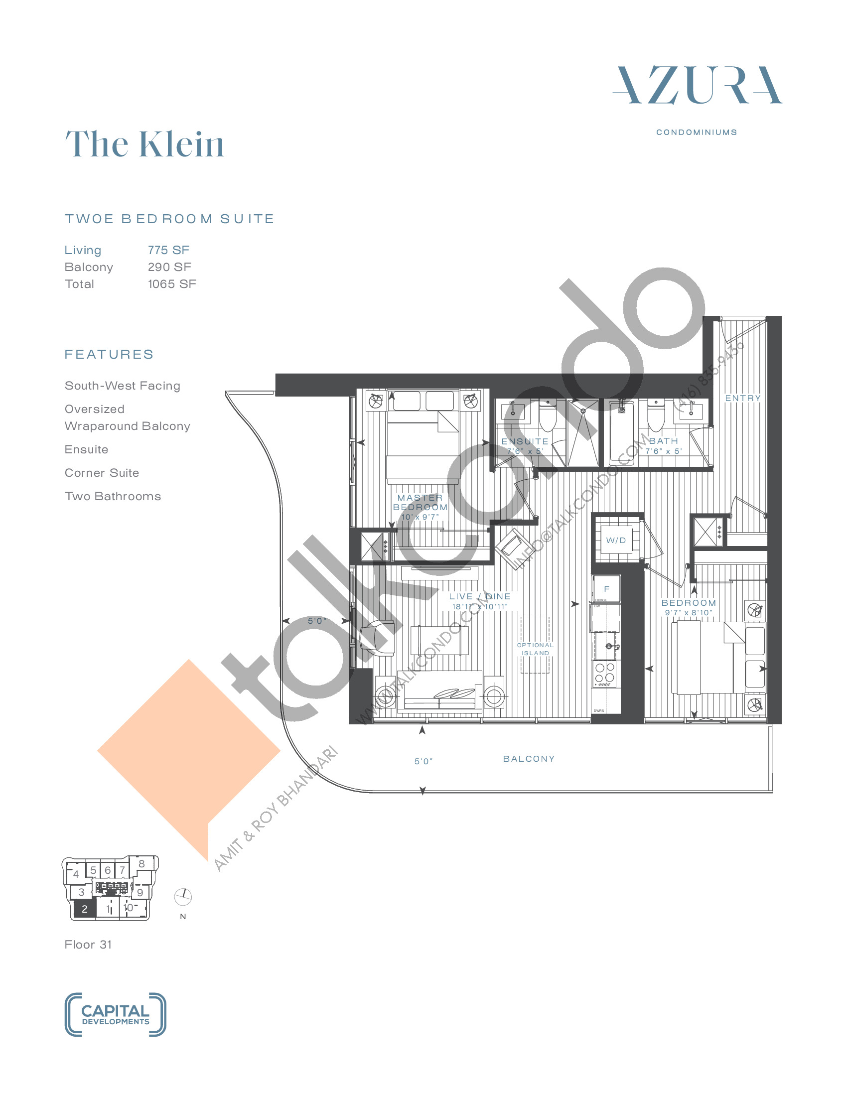 The Klein (Penthouse) Floor Plan at Azura Condos - 775 sq.ft