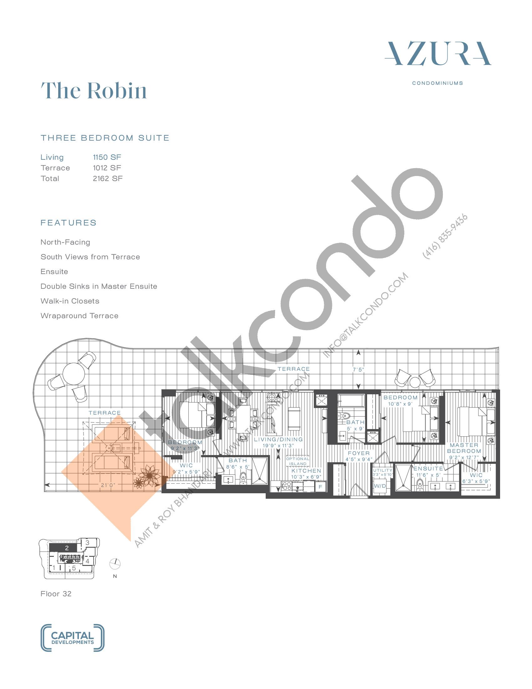 The Robin (Penthouse) Floor Plan at Azura Condos - 1150 sq.ft