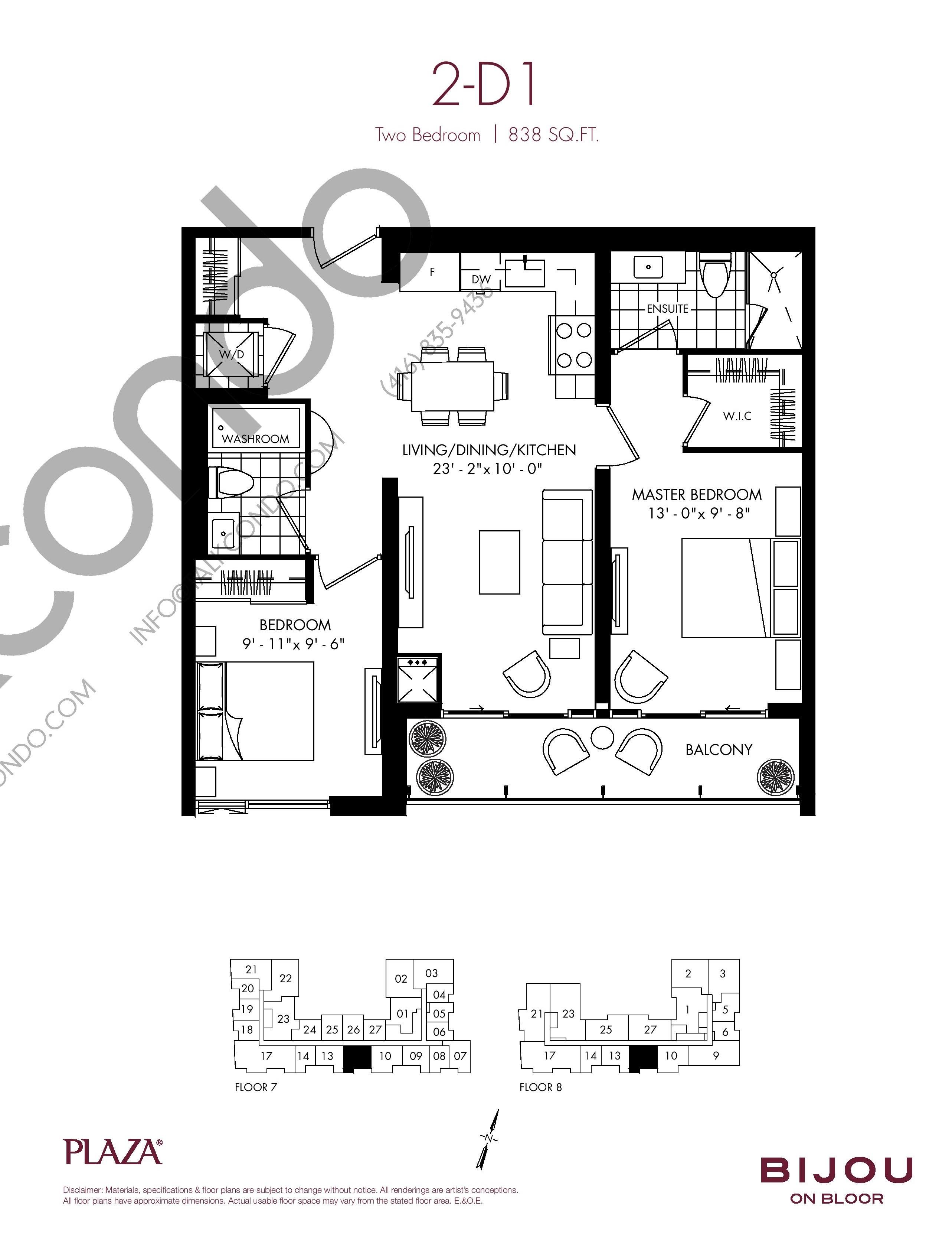 2-D1 Floor Plan at Bijou On Bloor Condos - 838 sq.ft