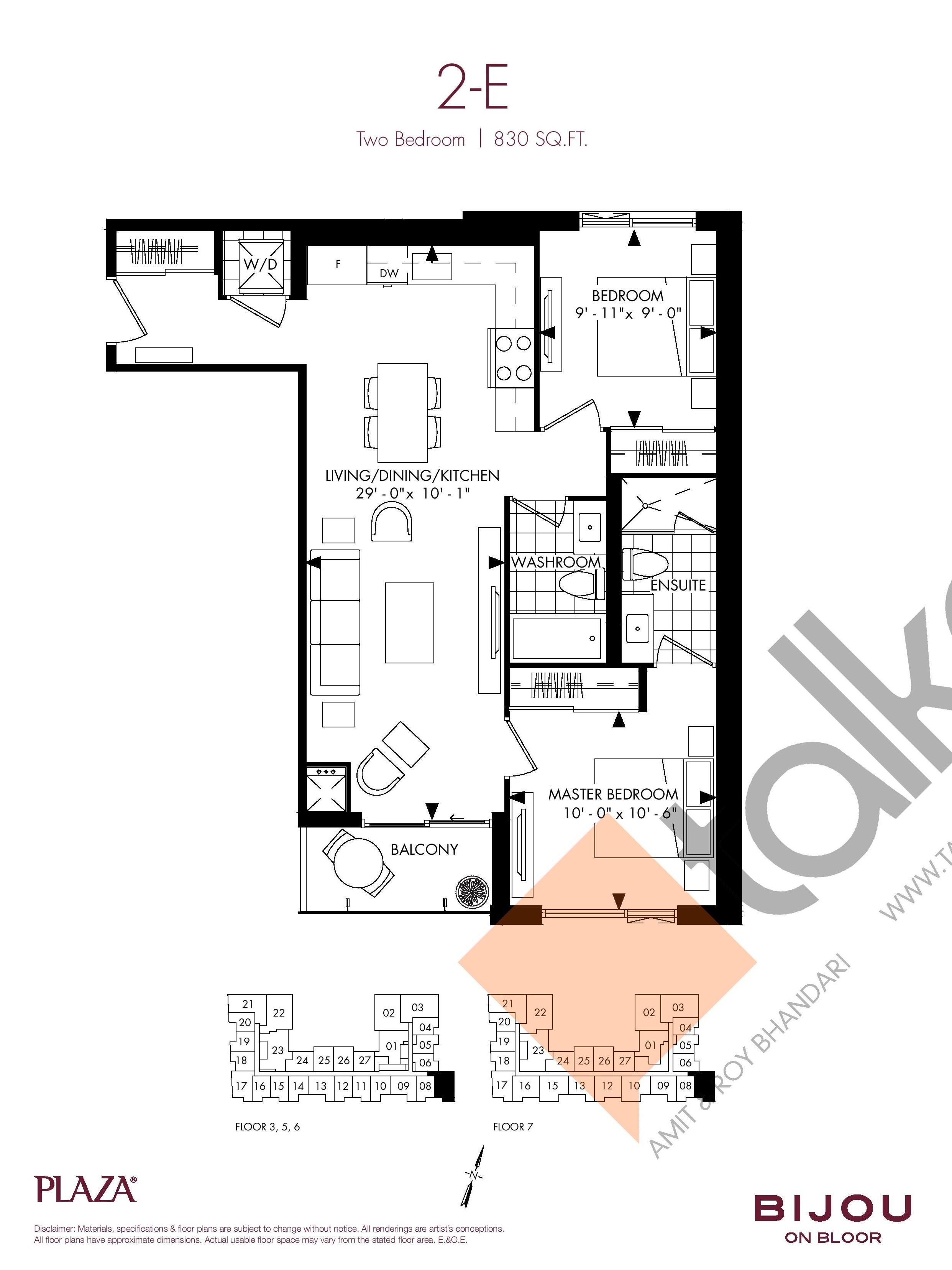 Suite 2-E Floor Plan at Bijou On Bloor Condos - 830 sq.ft