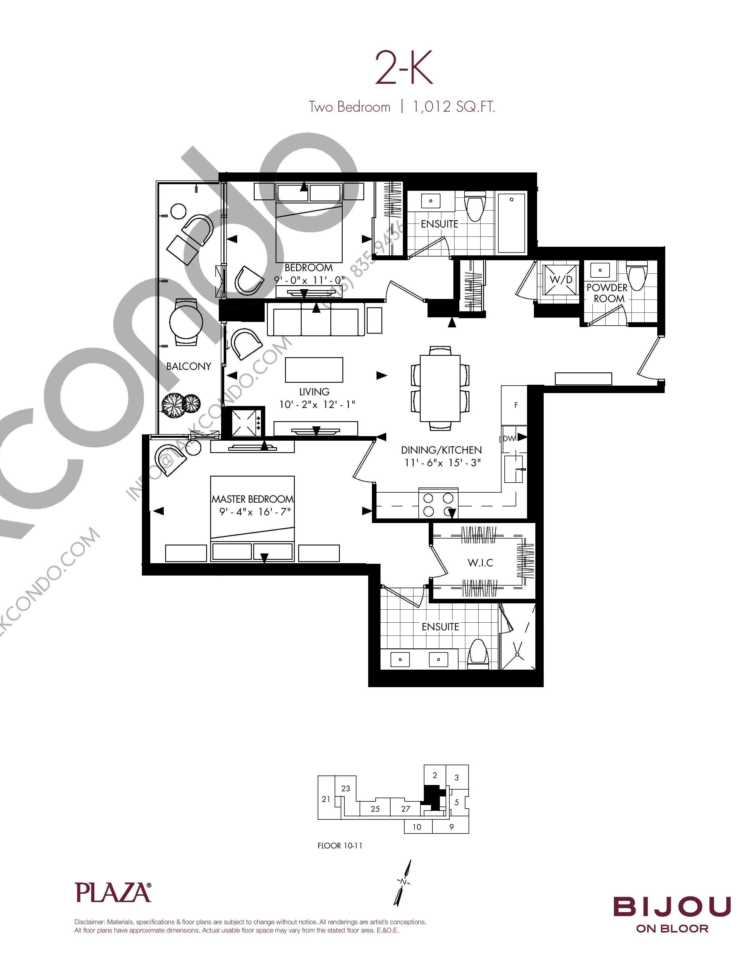 Suite 2-K Floor Plan at Bijou On Bloor Condos - 1012 sq.ft