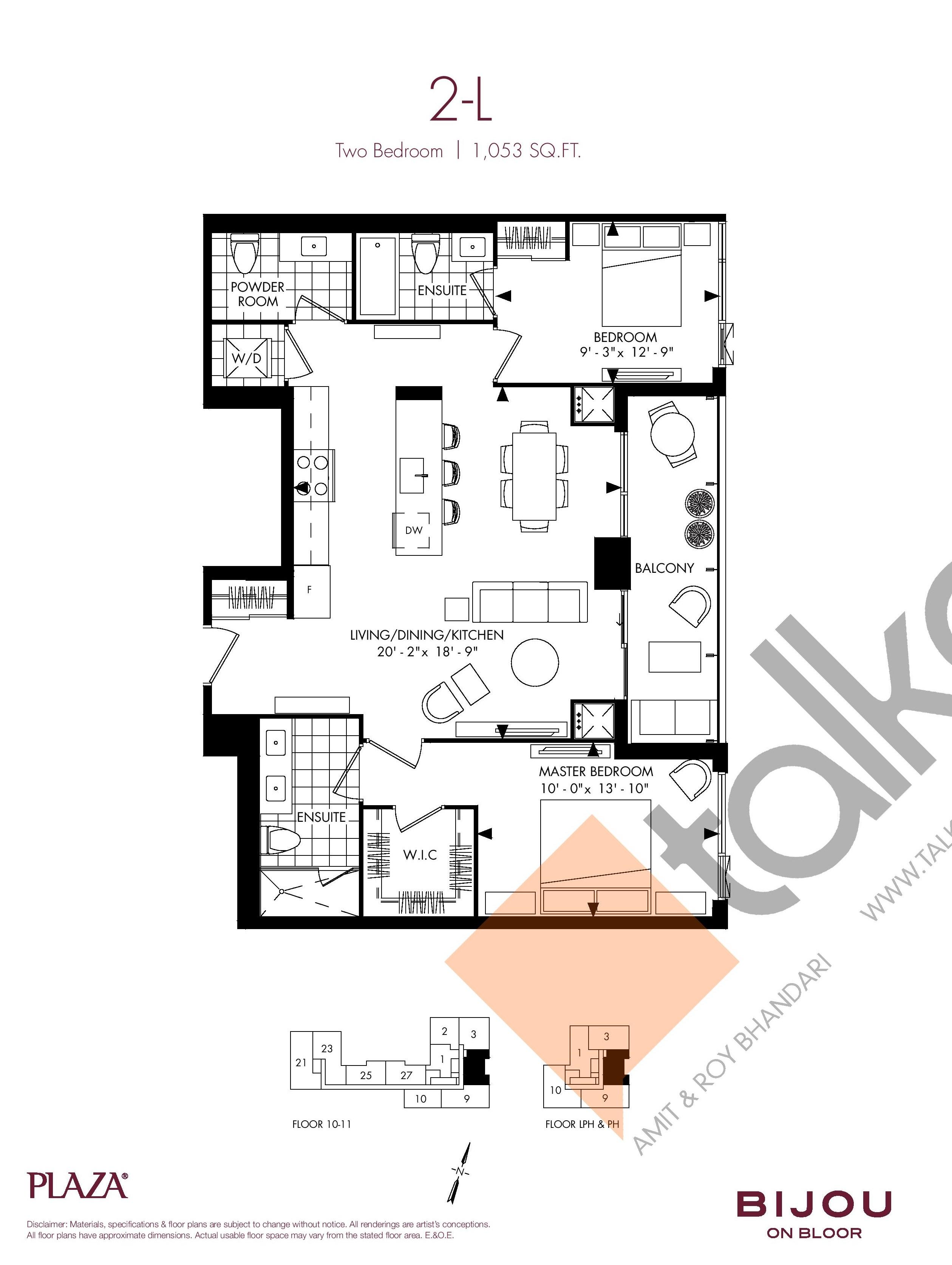 Suite 2-L Floor Plan at Bijou On Bloor Condos - 1053 sq.ft