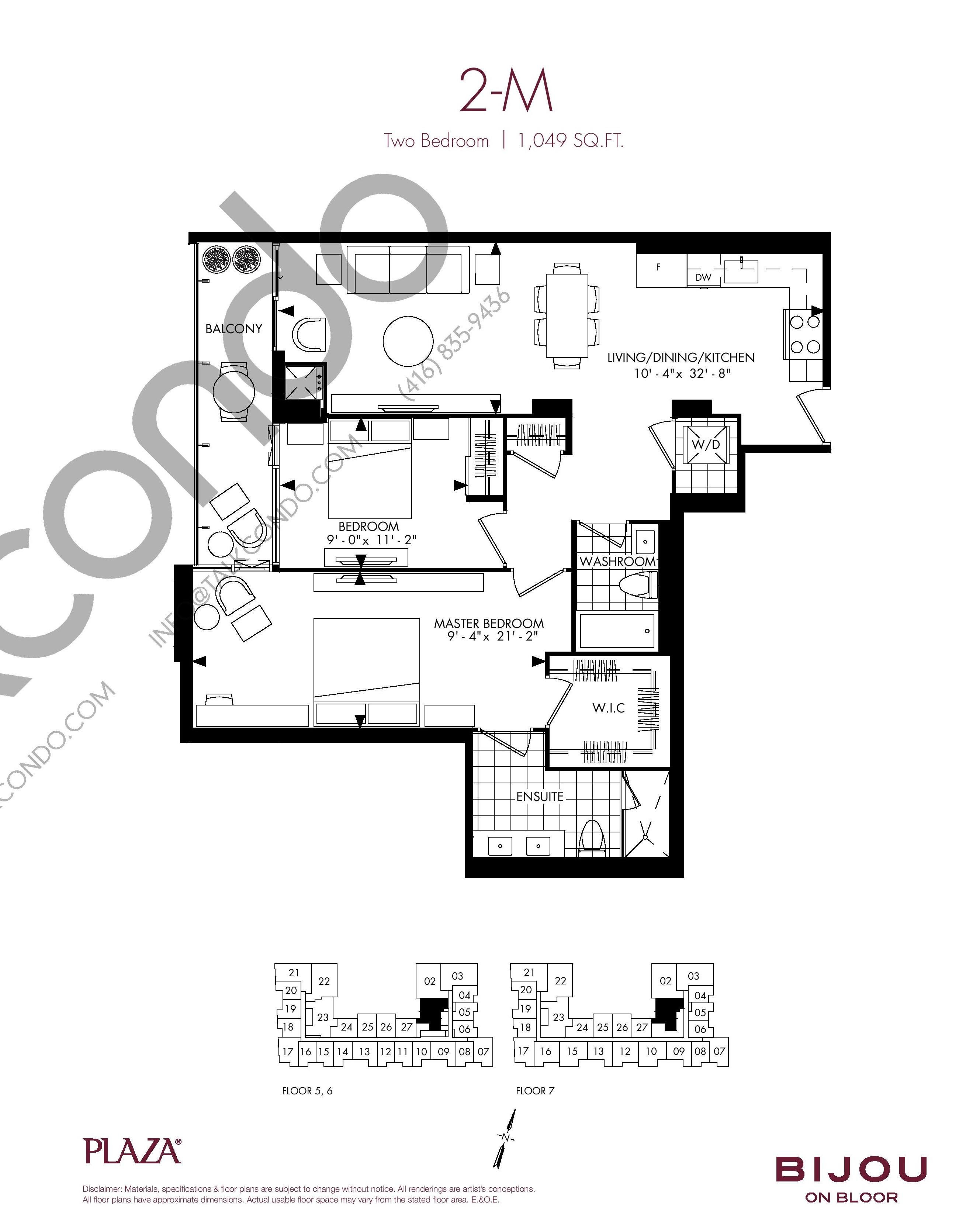 Suite 2-M Floor Plan at Bijou On Bloor Condos - 1049 sq.ft