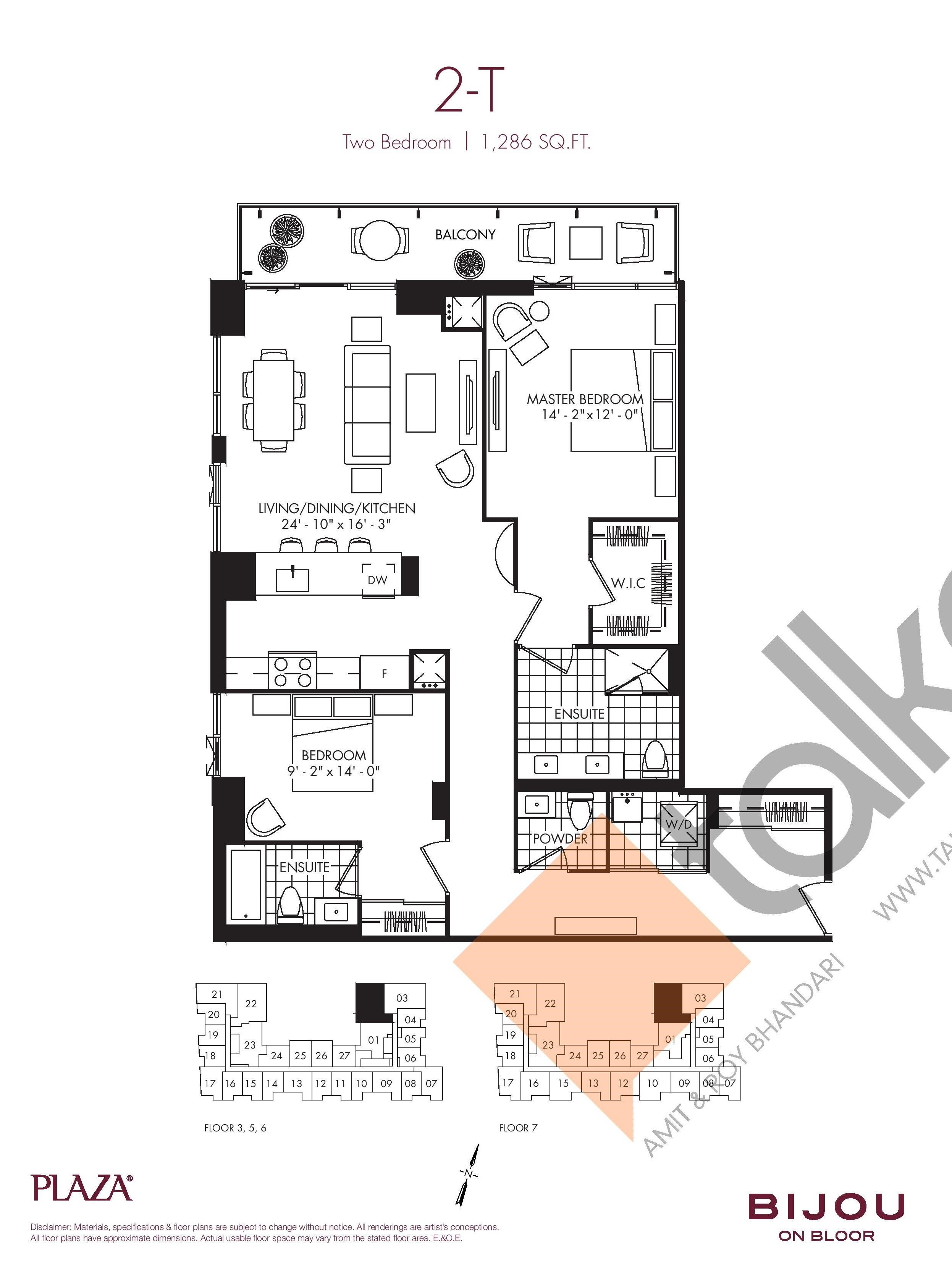 2-T Floor Plan at Bijou On Bloor Condos - 1286 sq.ft