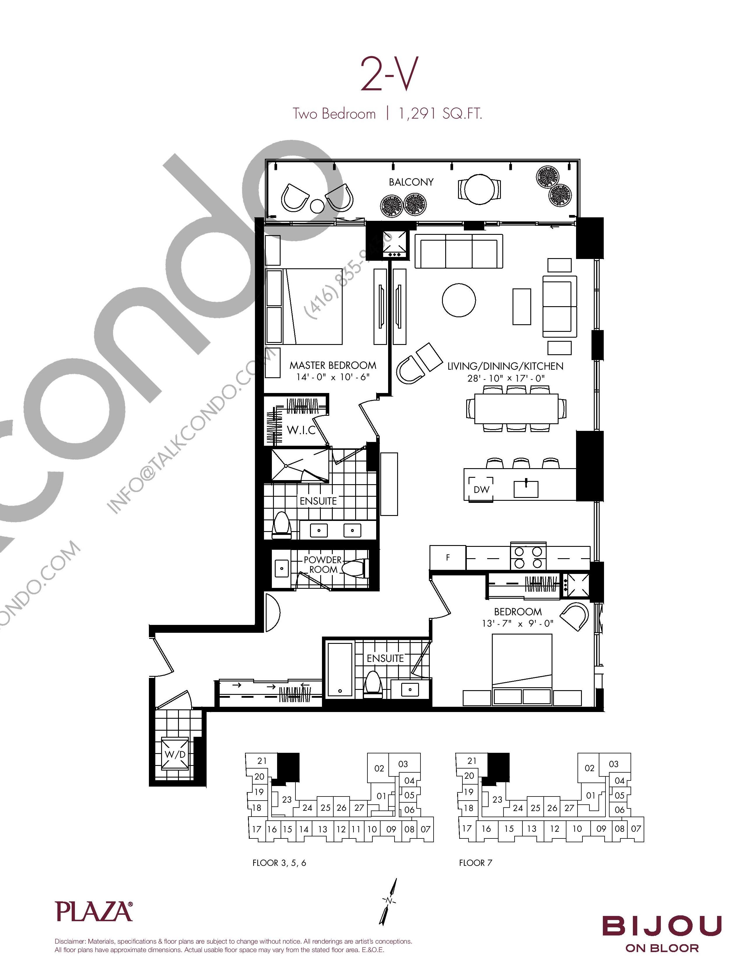 2-V Floor Plan at Bijou On Bloor Condos - 1291 sq.ft