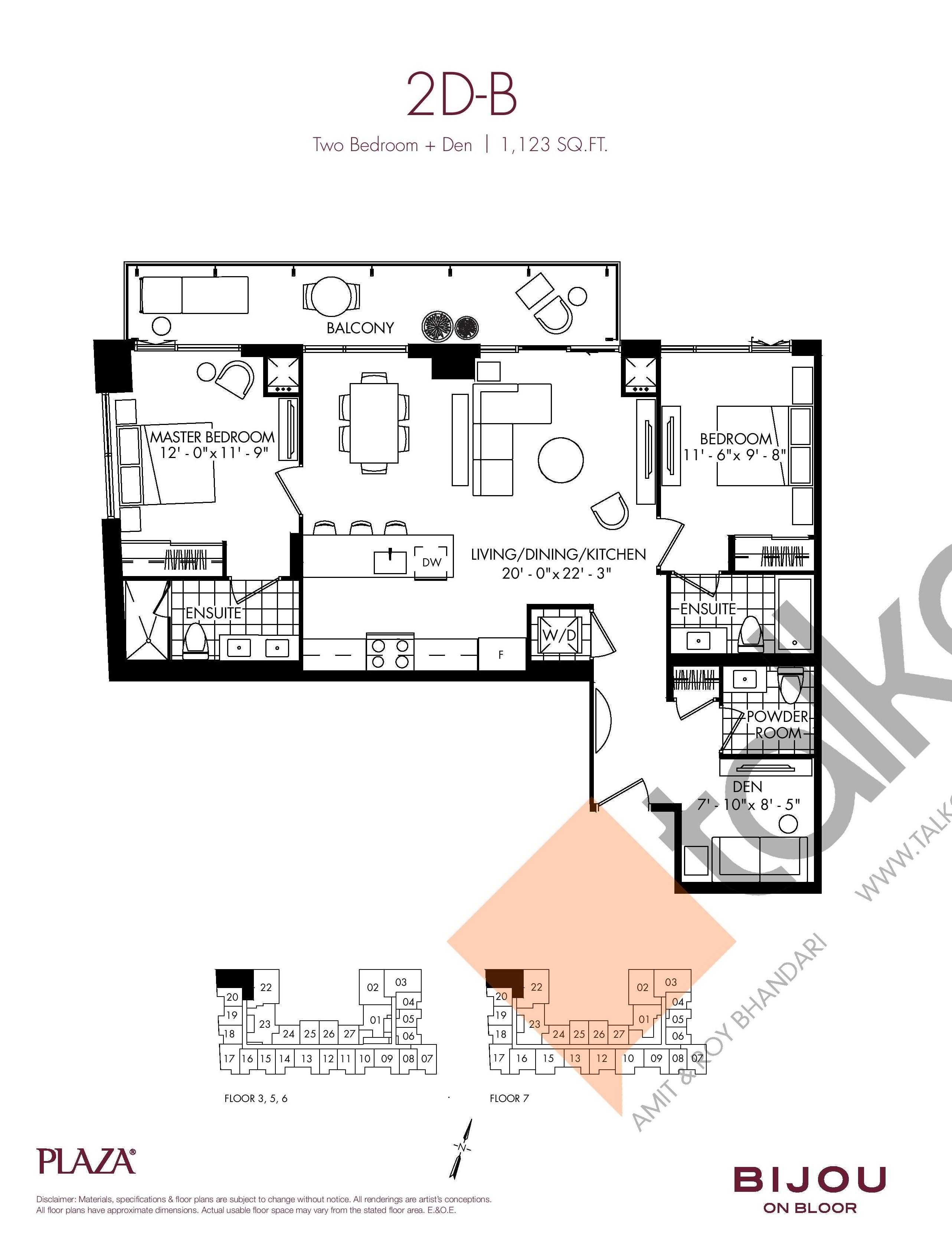 Suite 2D-B Floor Plan at Bijou On Bloor Condos - 1123 sq.ft