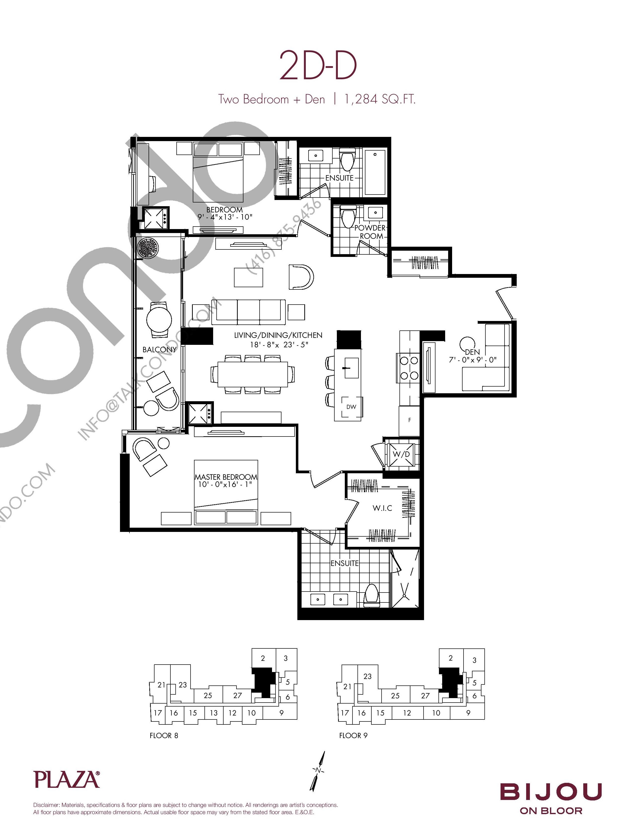 Suite 2D-D Floor Plan at Bijou On Bloor Condos - 1284 sq.ft