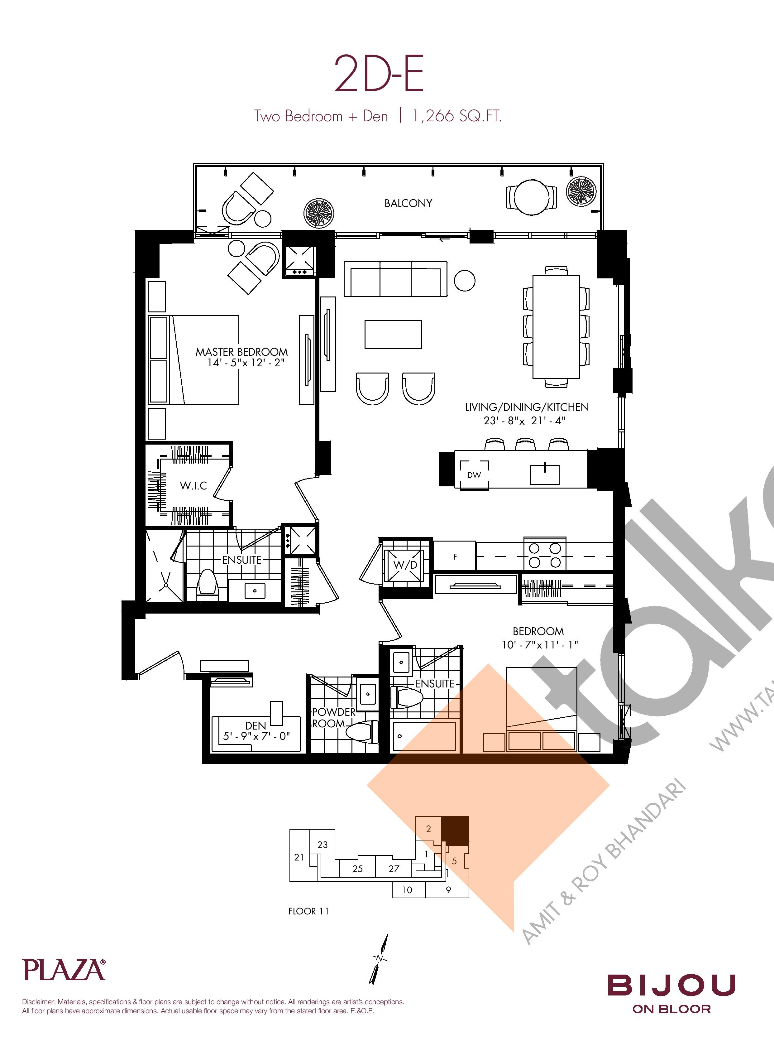 Suite 2D-E Floor Plan at Bijou On Bloor Condos - 1266 sq.ft