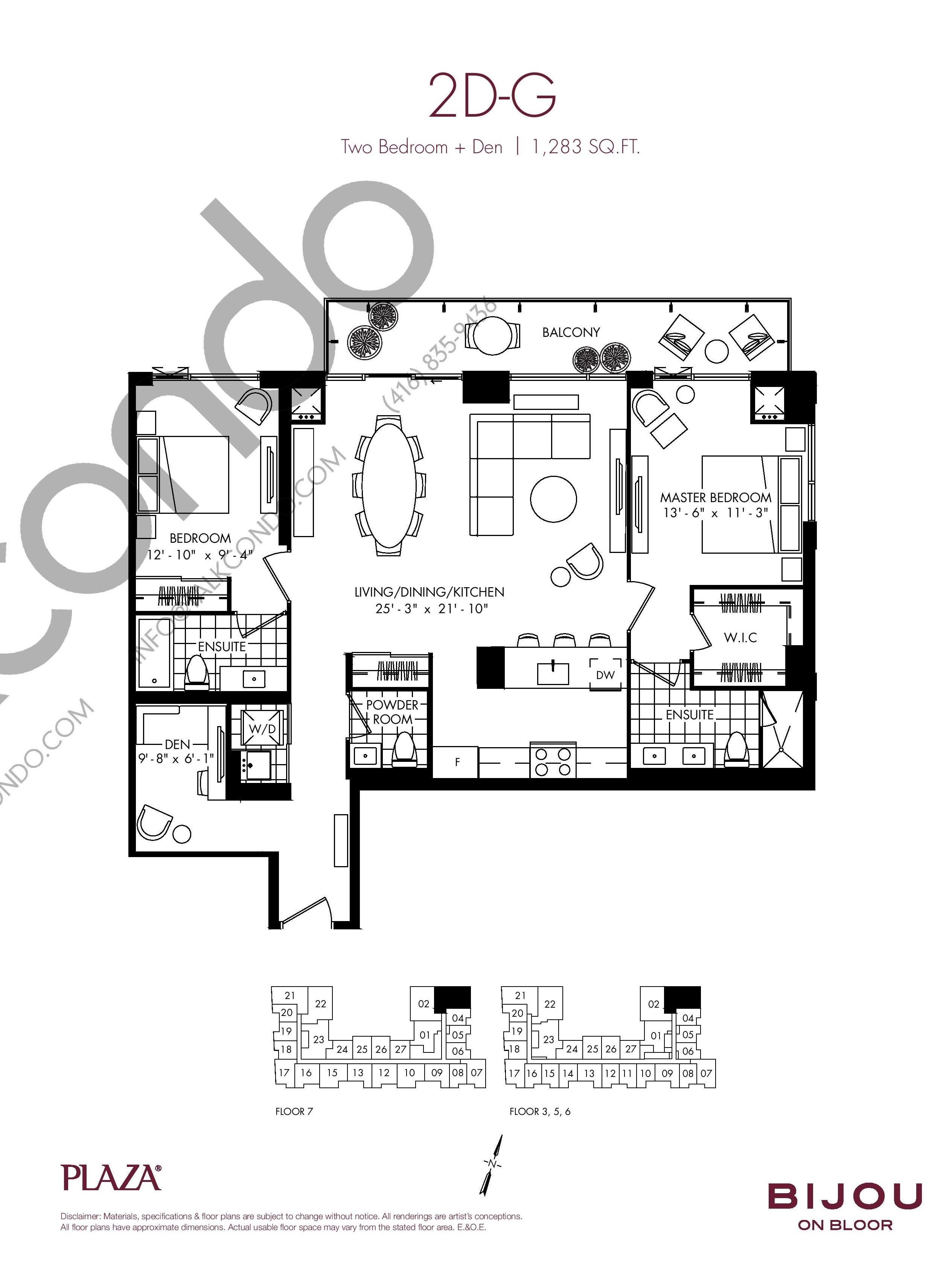 Suite 2D-G Floor Plan at Bijou On Bloor Condos - 1283 sq.ft