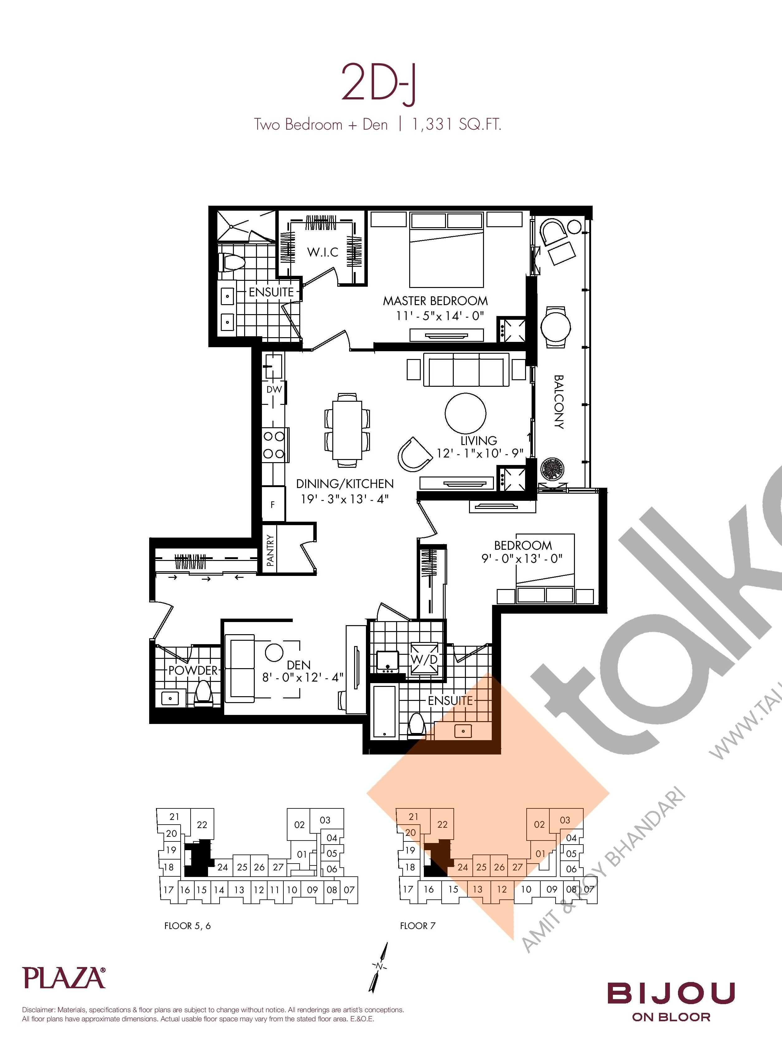 2D-J Floor Plan at Bijou On Bloor Condos - 1331 sq.ft