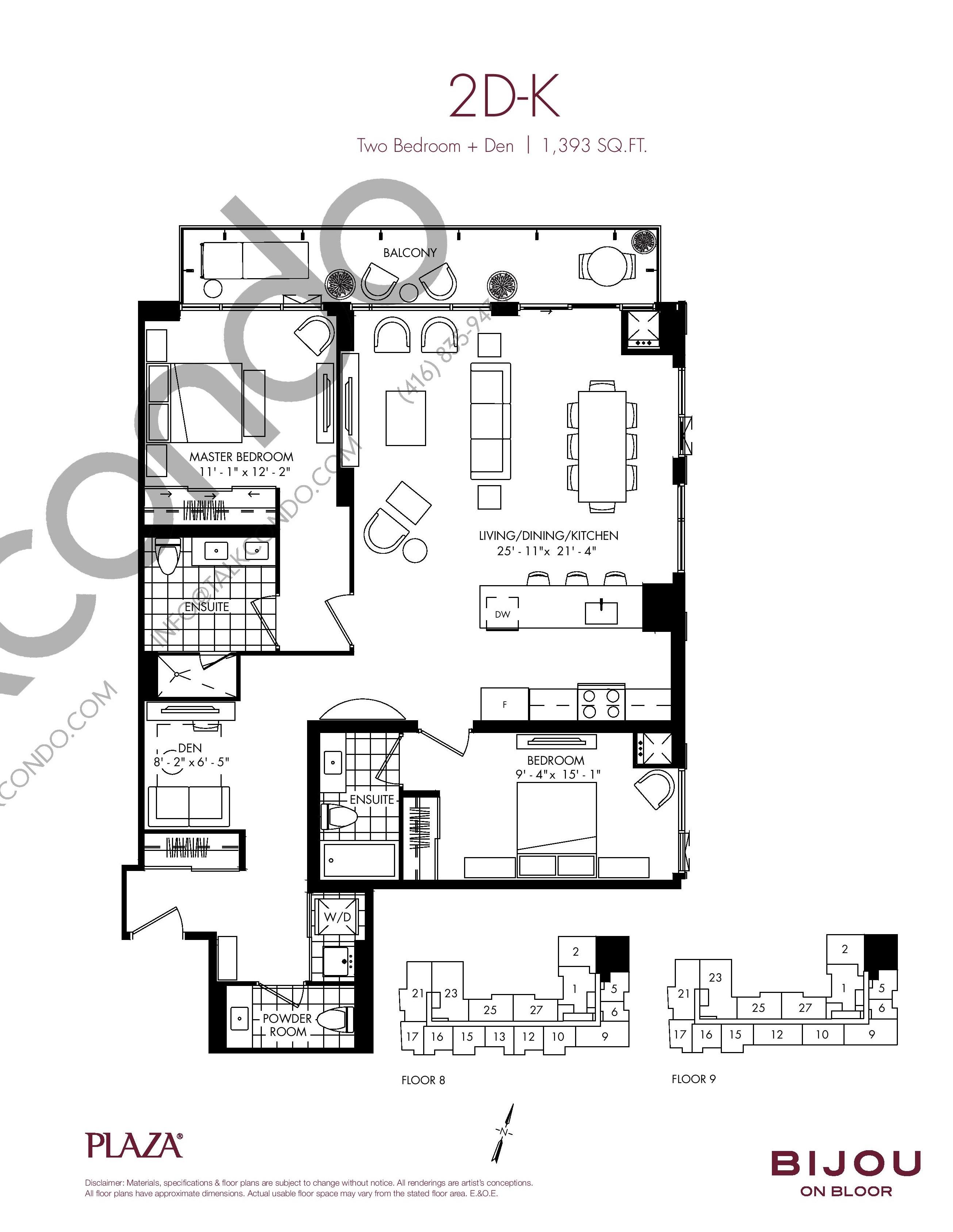 2D-K Floor Plan at Bijou On Bloor Condos - 1393 sq.ft