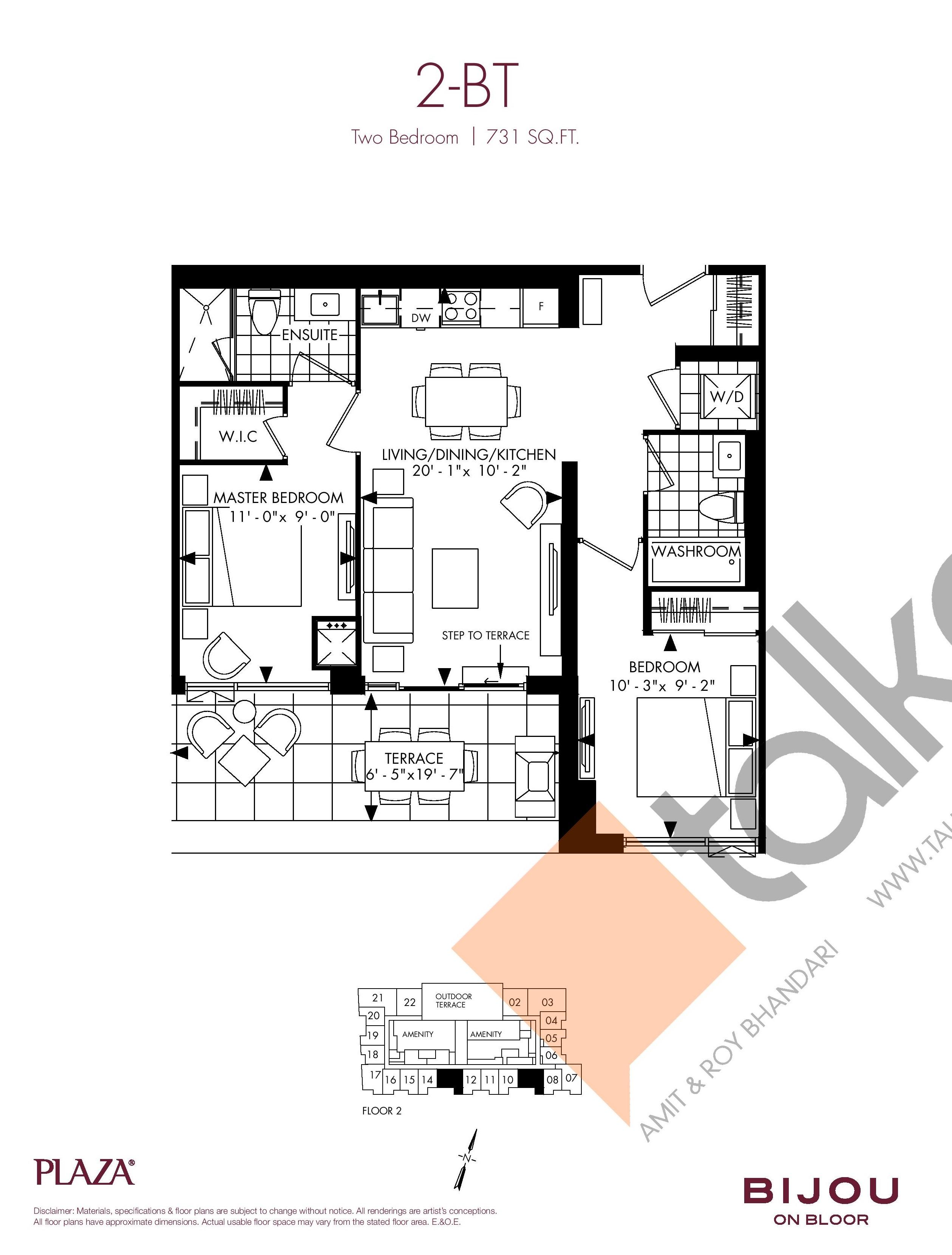 2-BT Floor Plan at Bijou On Bloor Condos - 731 sq.ft