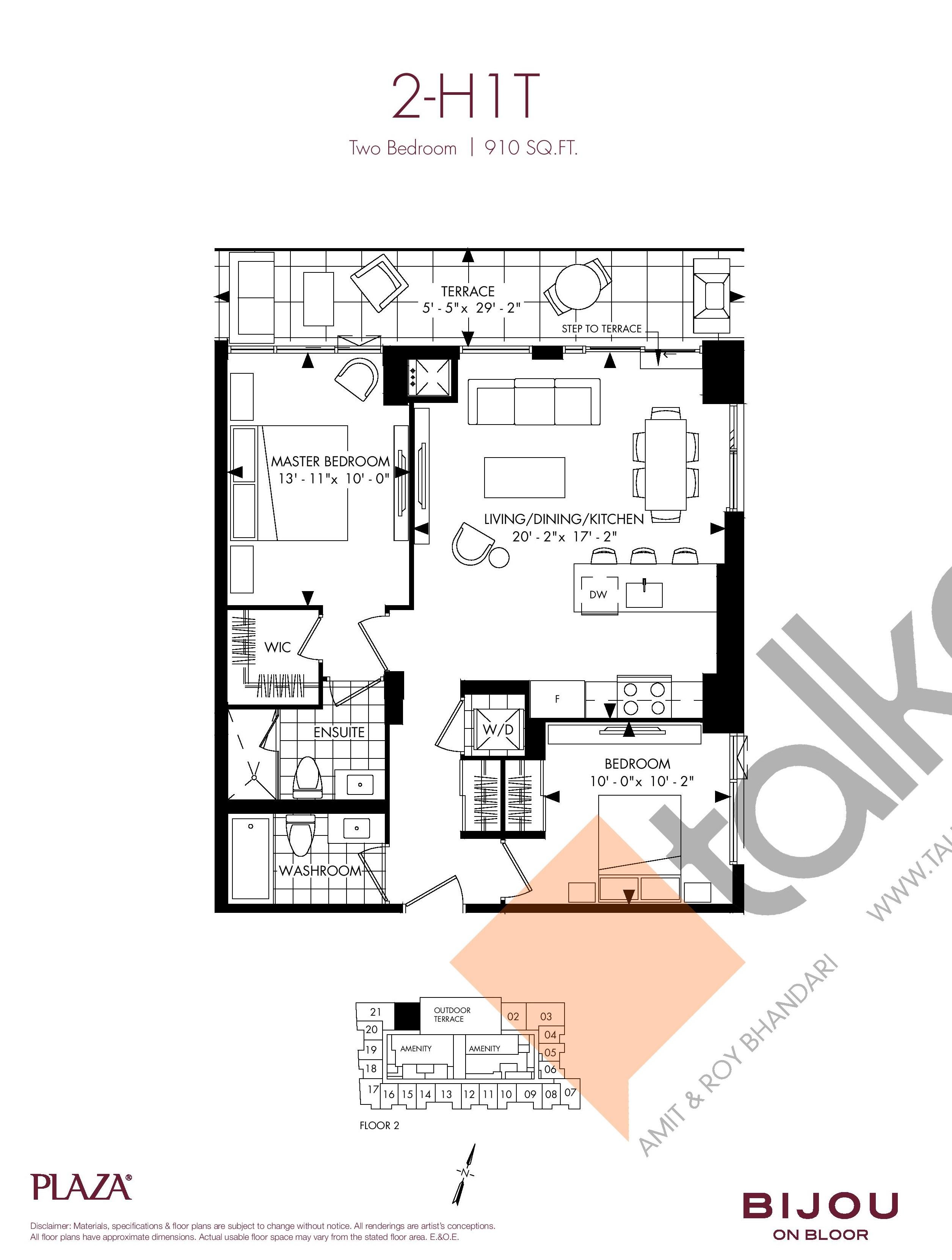 2-H1T Floor Plan at Bijou On Bloor Condos - 910 sq.ft