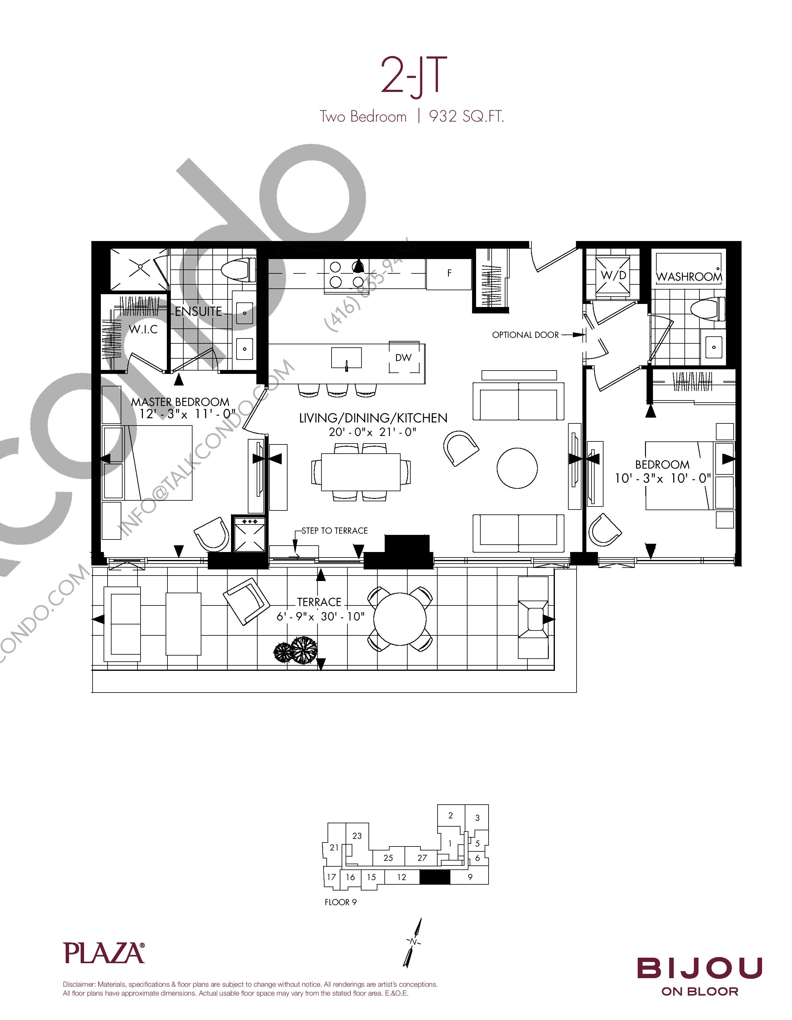 2-JT Floor Plan at Bijou On Bloor Condos - 932 sq.ft