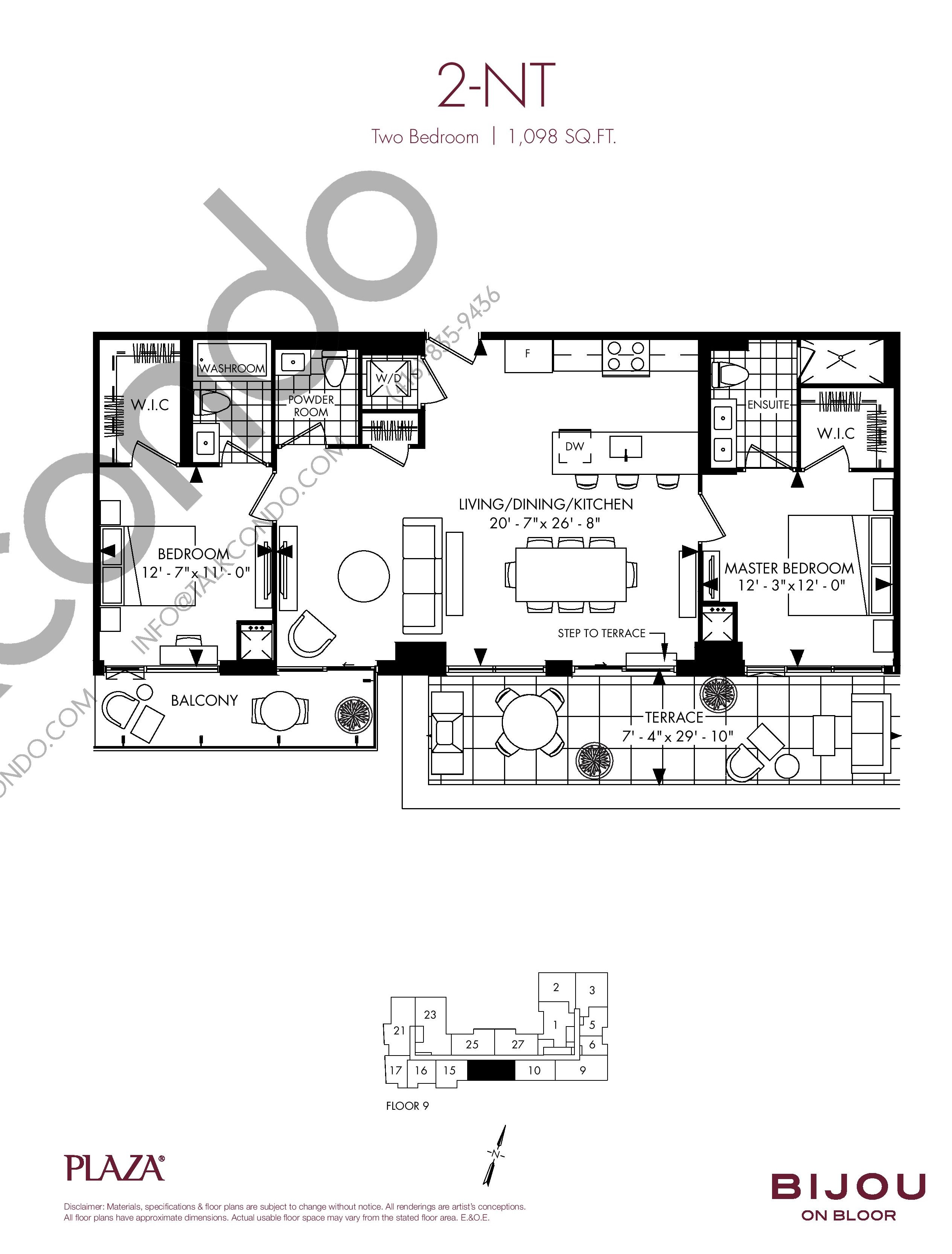 2-NT Floor Plan at Bijou On Bloor Condos - 1098 sq.ft