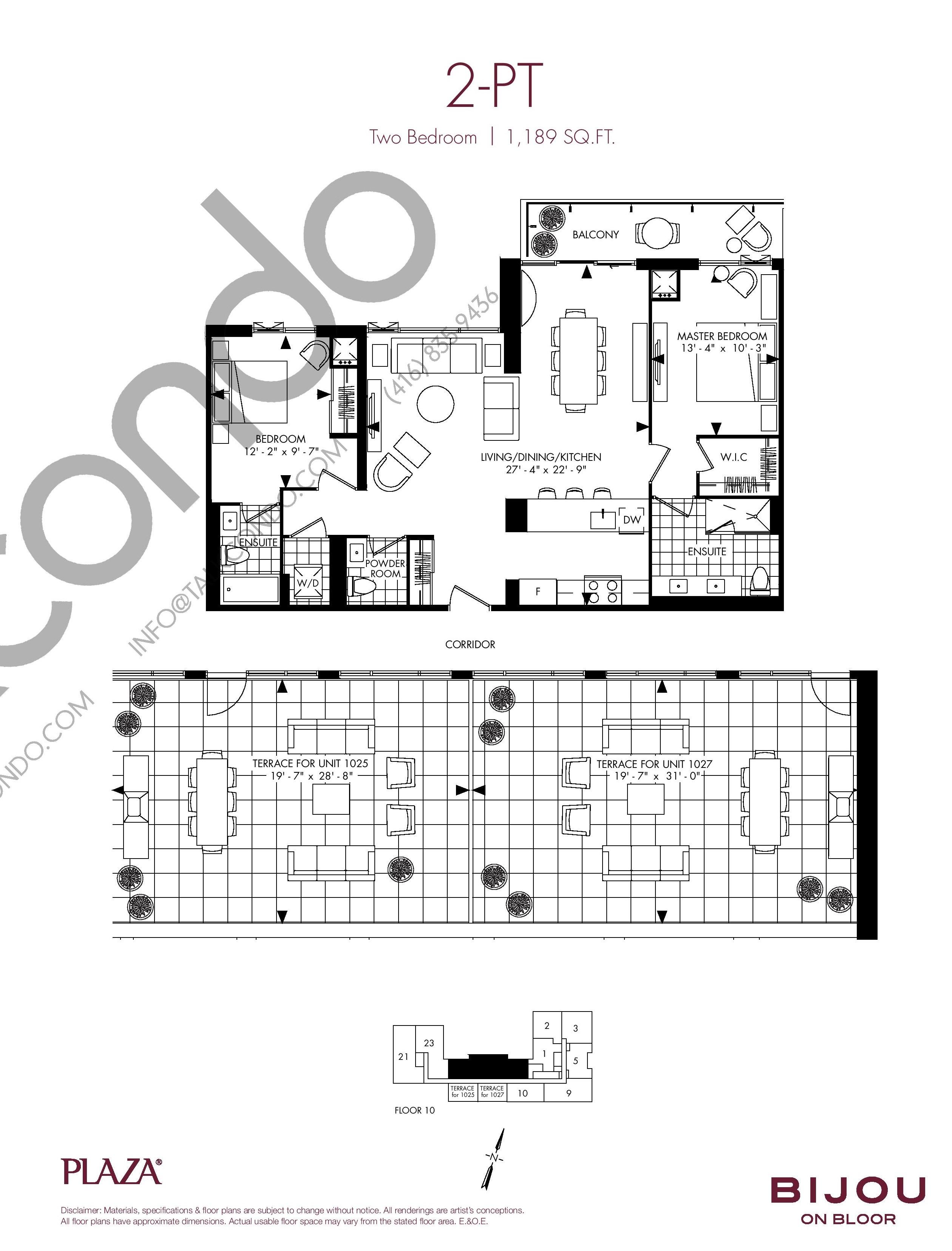 2-PT Floor Plan at Bijou On Bloor Condos - 1189 sq.ft