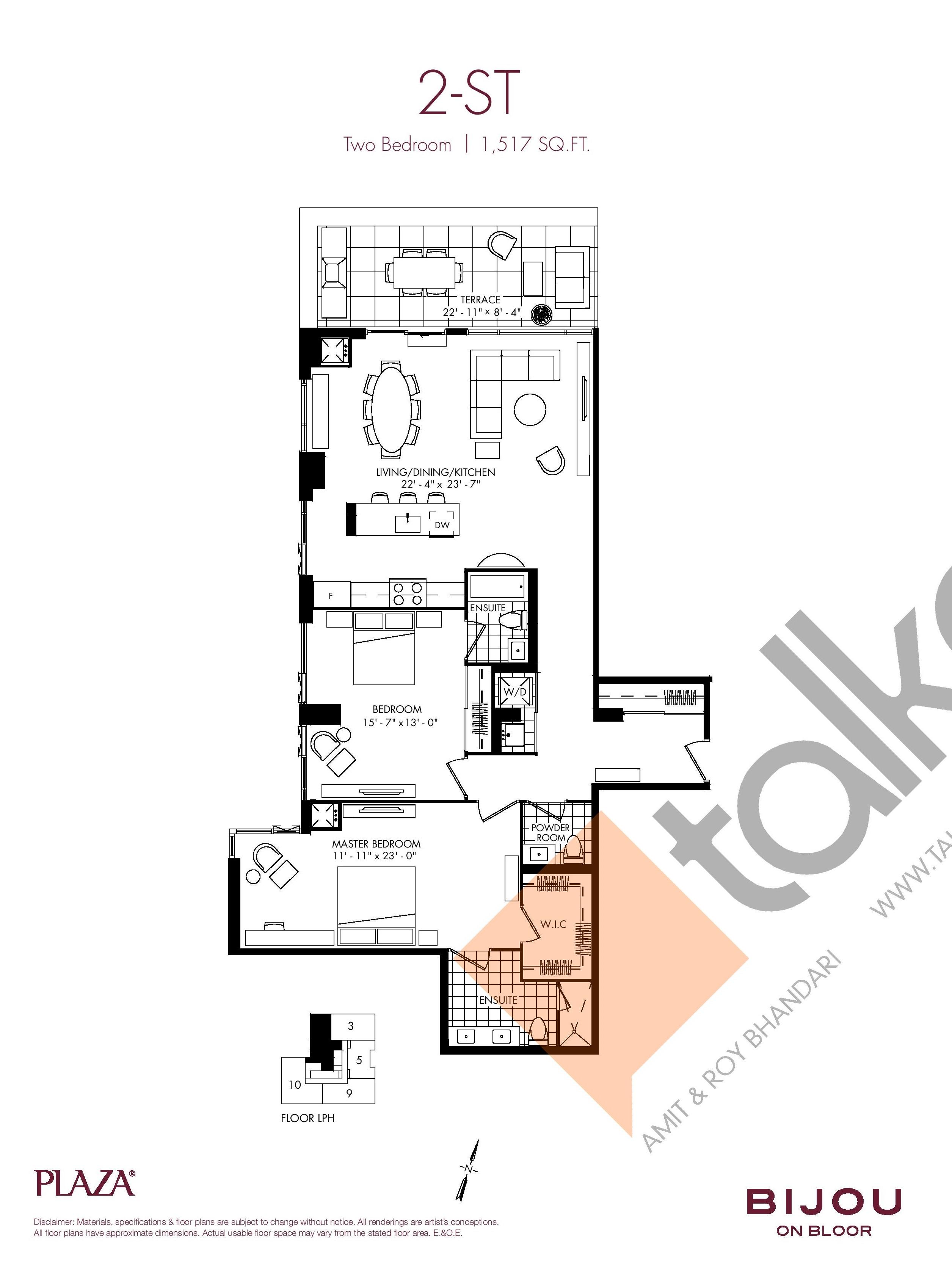 2-ST Floor Plan at Bijou On Bloor Condos - 1517 sq.ft