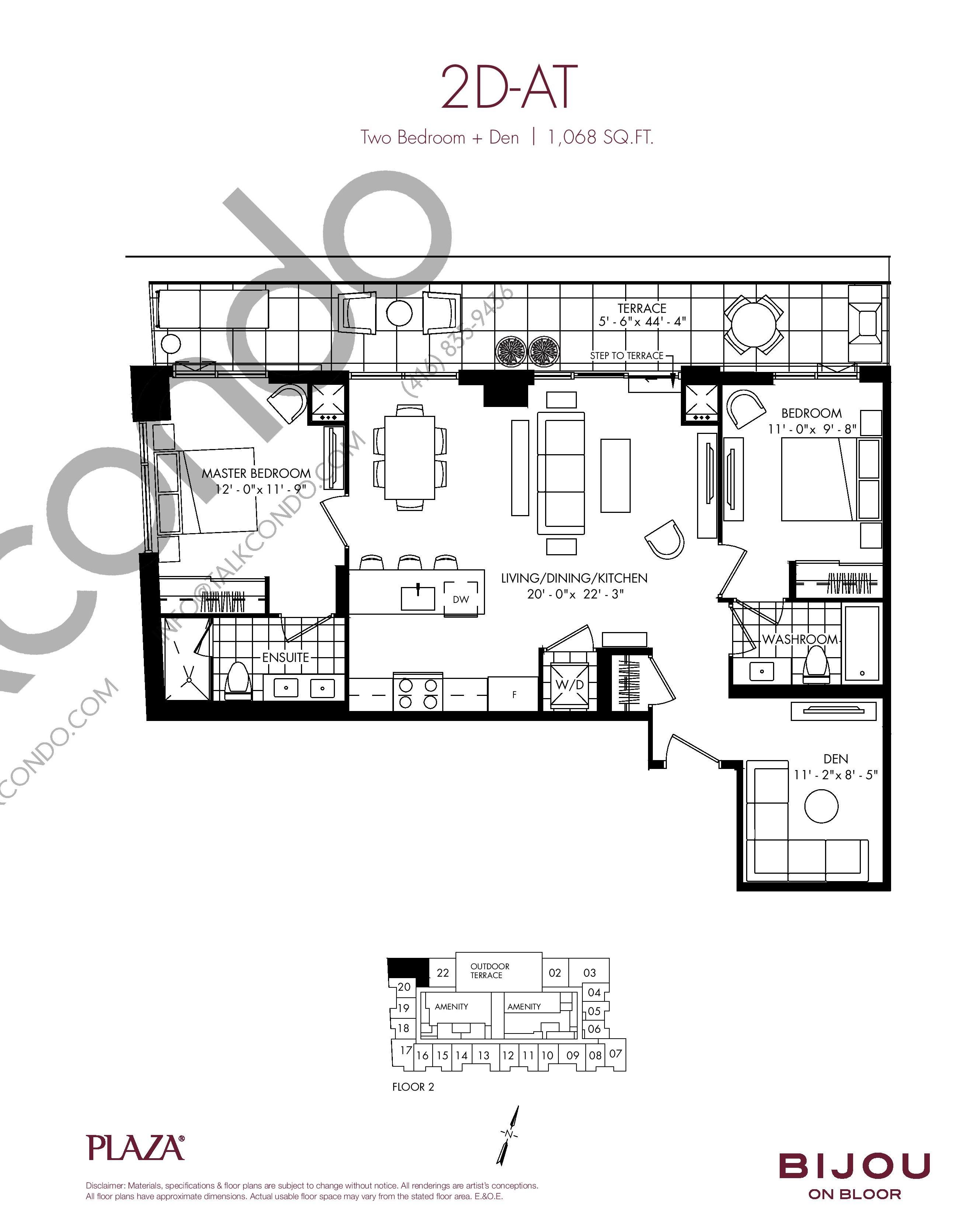 2D-AT Floor Plan at Bijou On Bloor Condos - 1068 sq.ft