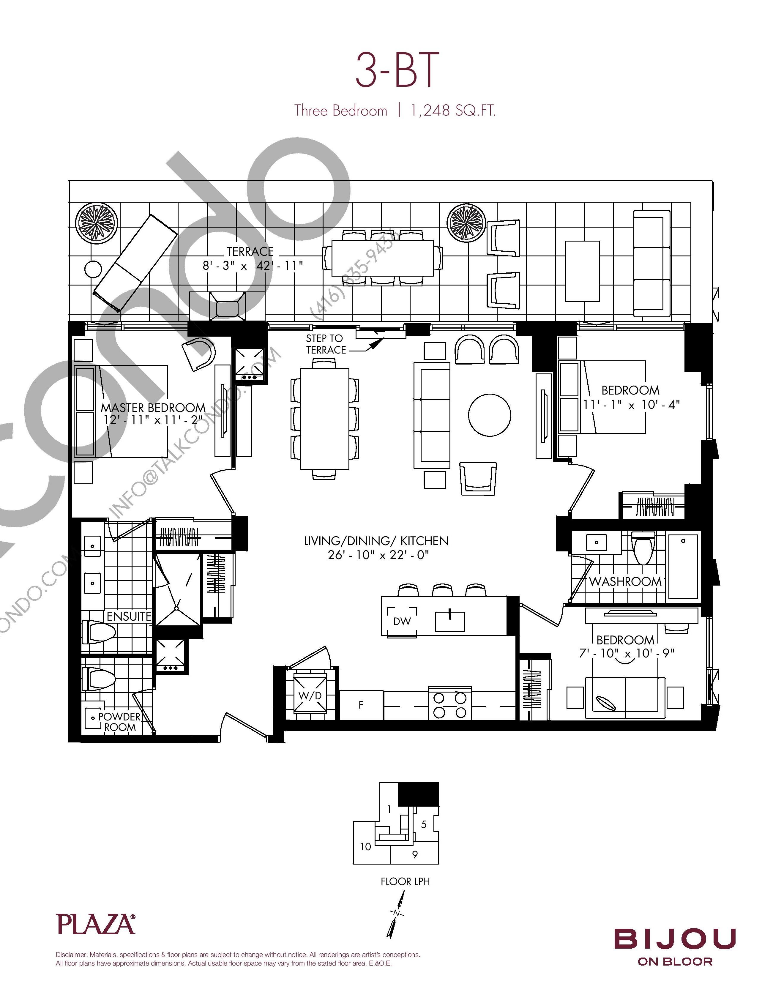 3-BT Floor Plan at Bijou On Bloor Condos - 1248 sq.ft