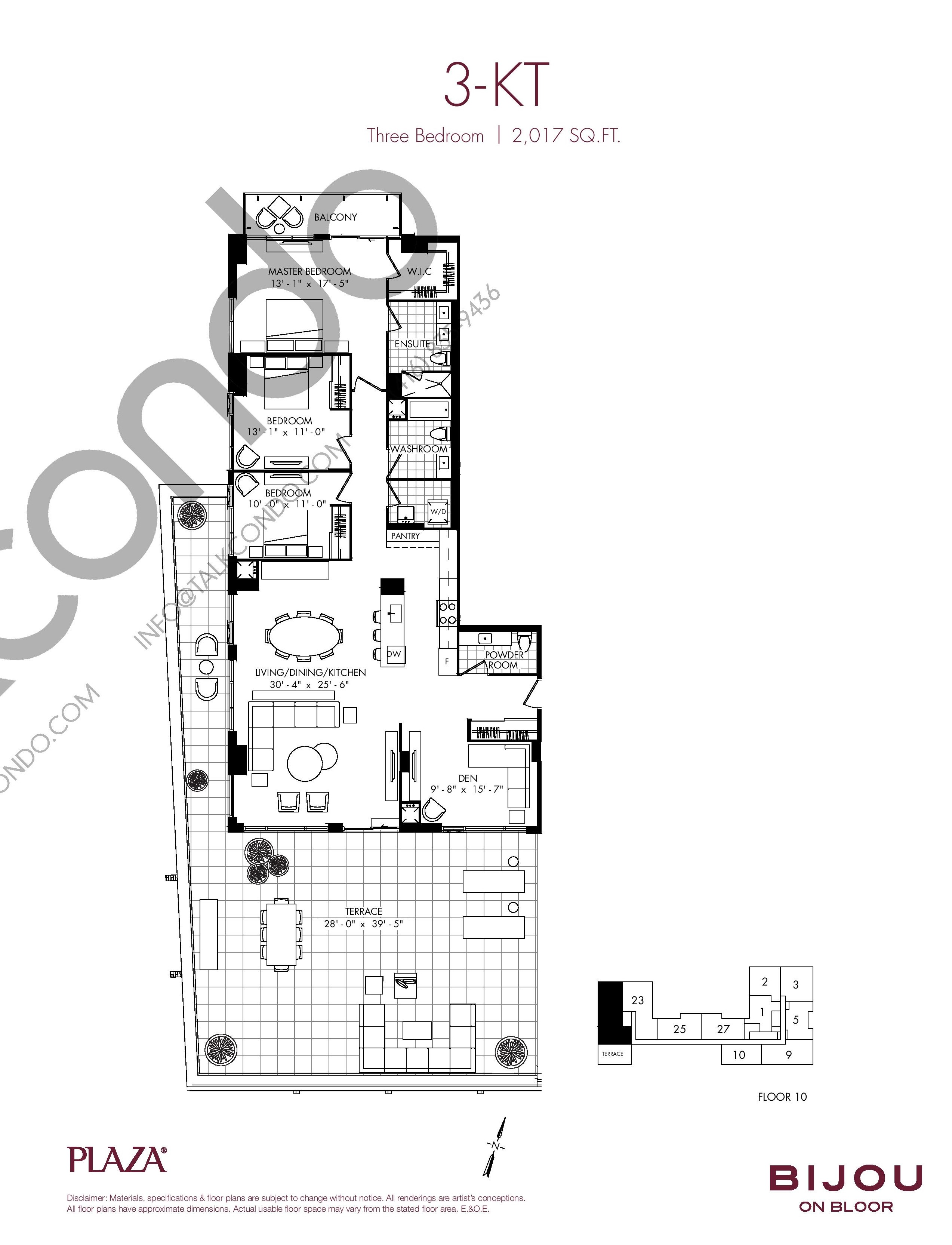 3-KT Floor Plan at Bijou On Bloor Condos - 2017 sq.ft