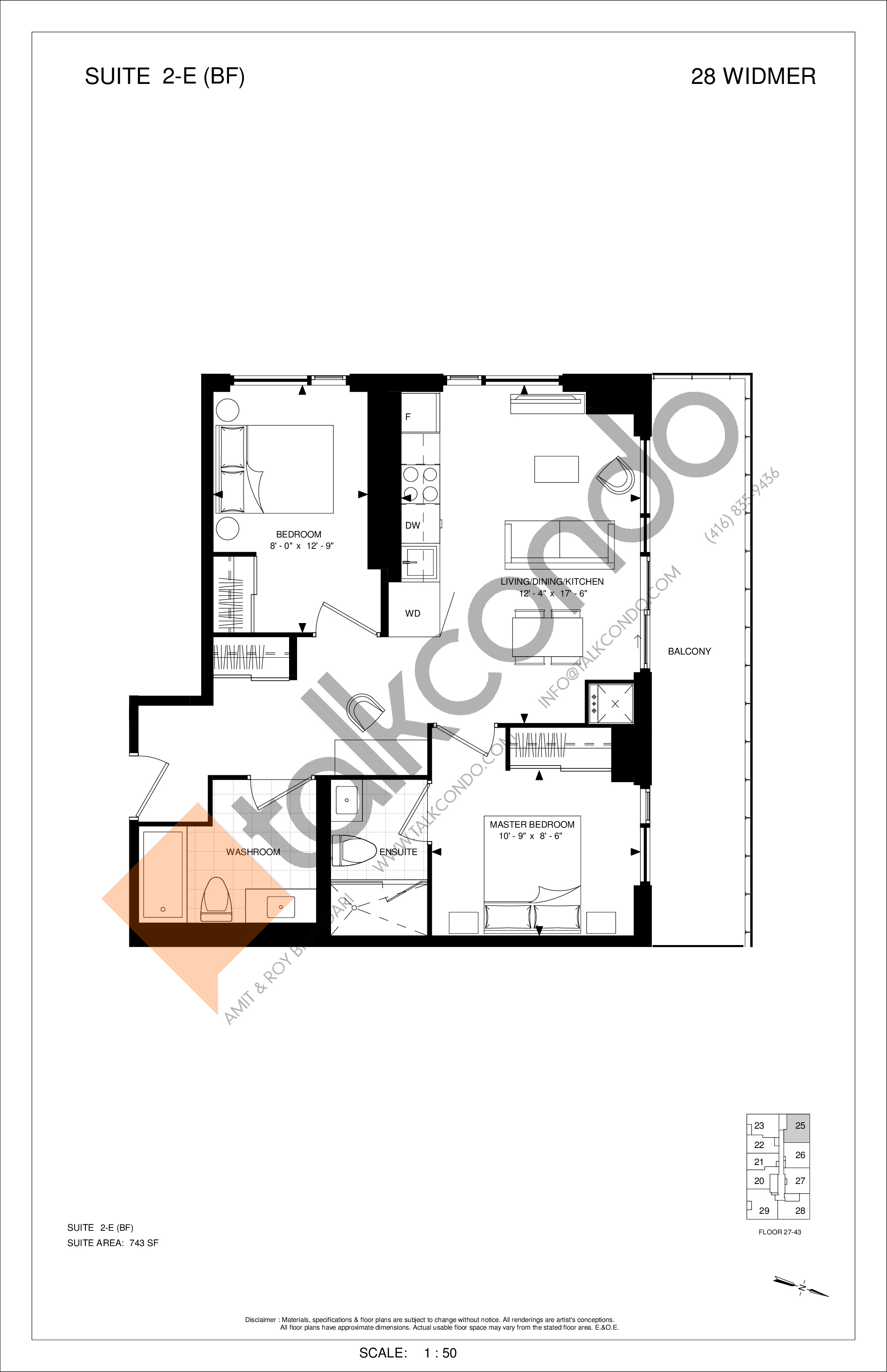 2-E (BF) Floor Plan at Encore Theatre District Condos - 743 sq.ft