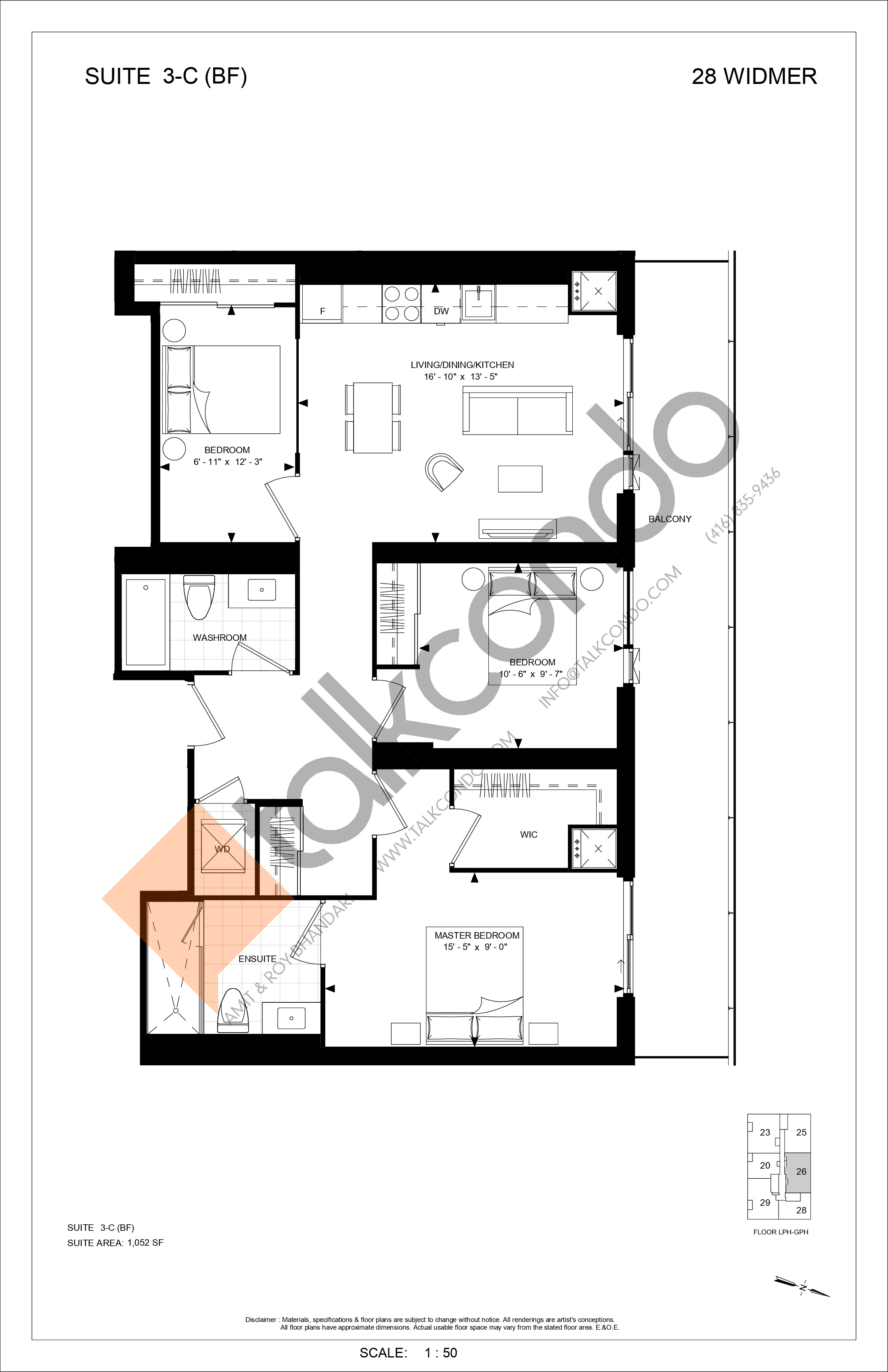3-C (BF) Floor Plan at Encore Theatre District Condos - 1064 sq.ft