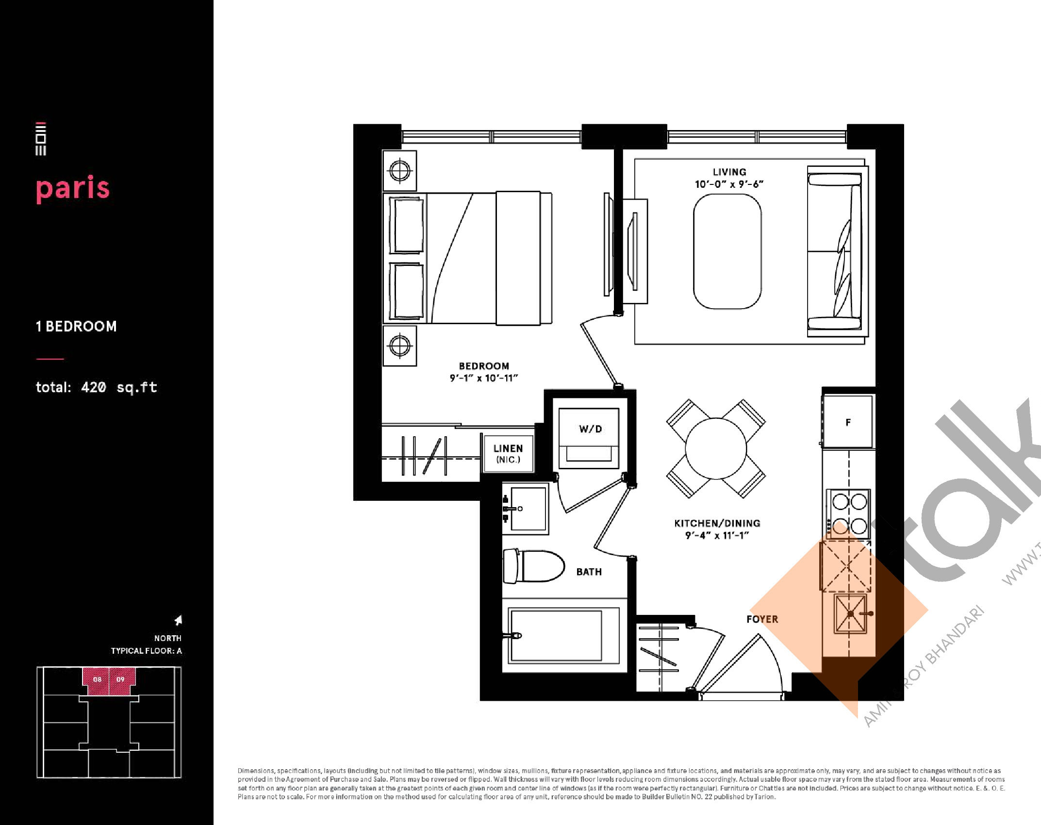 Paris Floor Plan at Exchange District Condos - 420 sq.ft