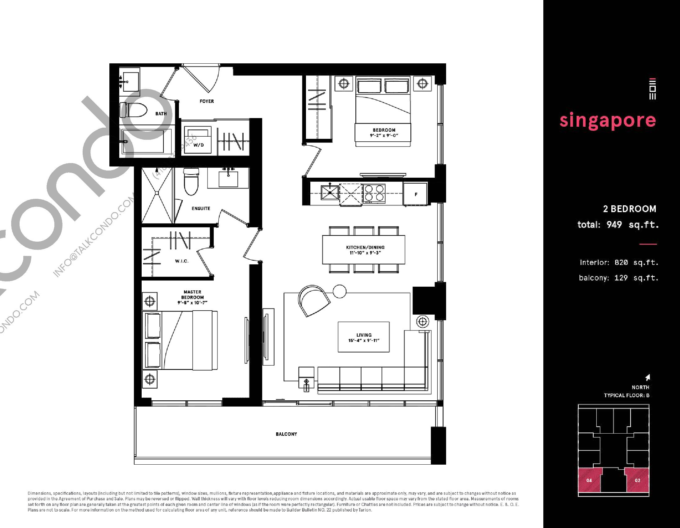 Singapore Floor Plan at Exchange District Condos - 820 sq.ft