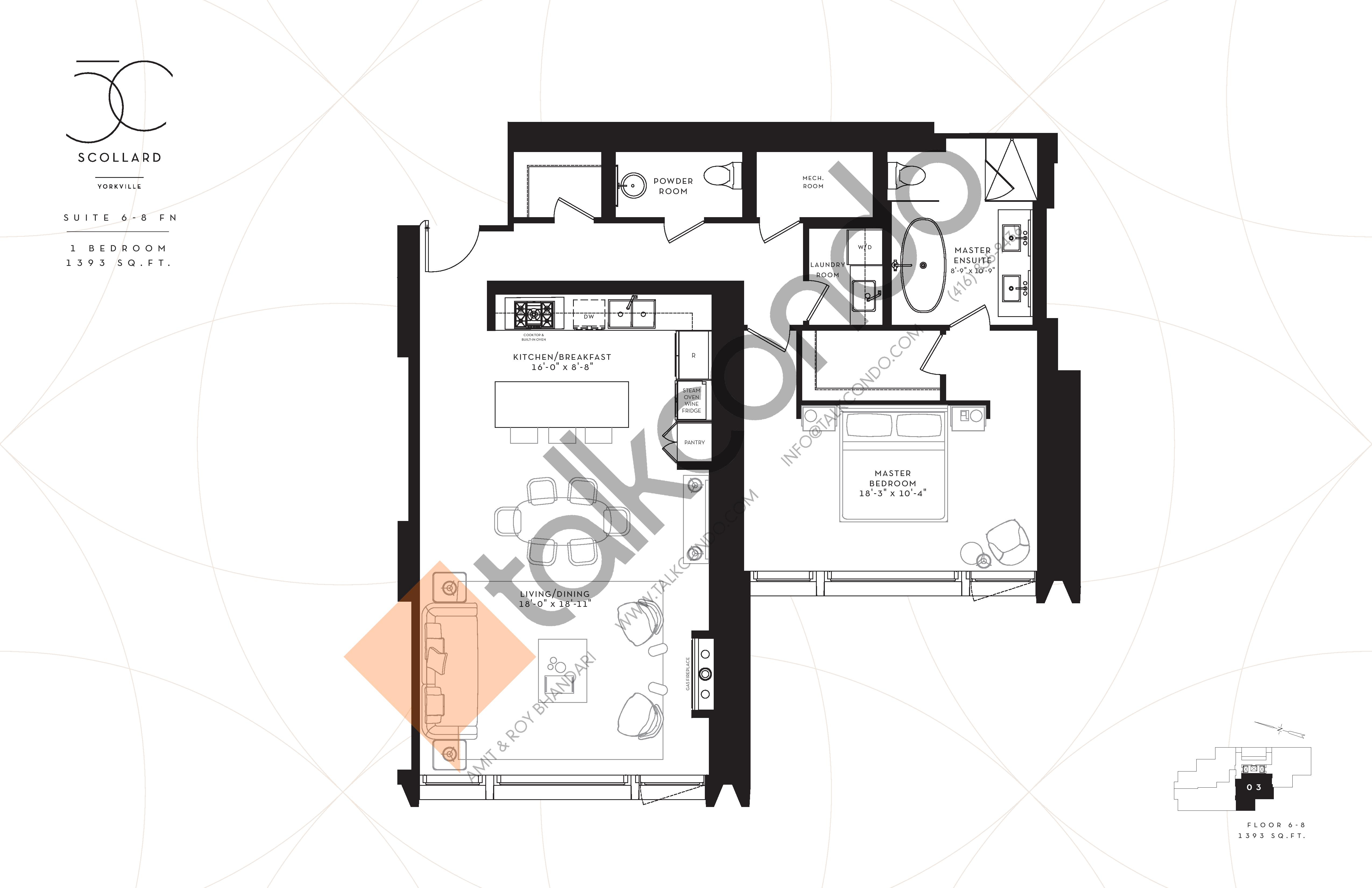 Suite 6-8 FN Floor Plan at Fifty Scollard Condos - 1393 sq.ft