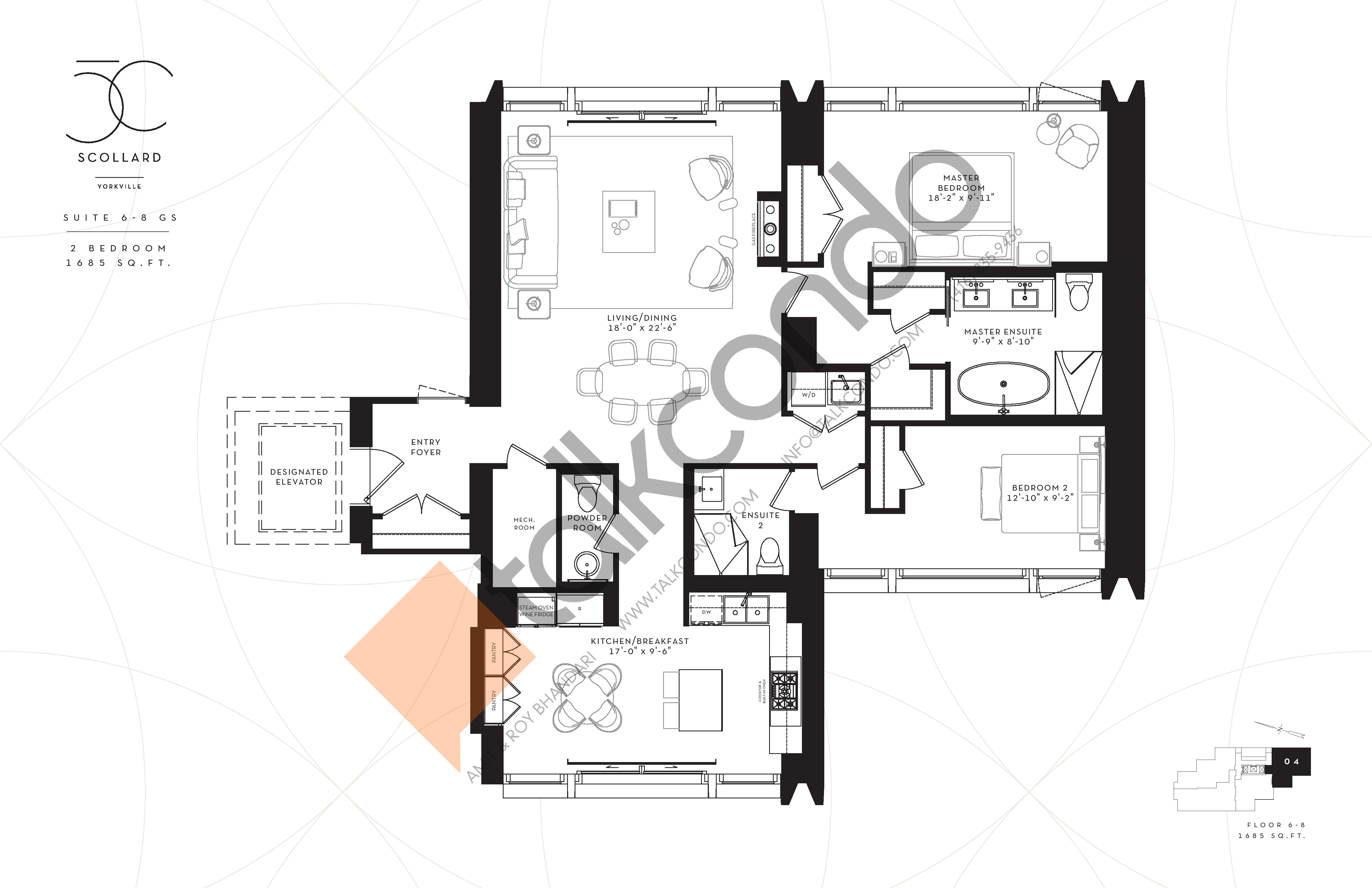 Suite 6-8 GS Floor Plan at Fifty Scollard Condos - 1685 sq.ft