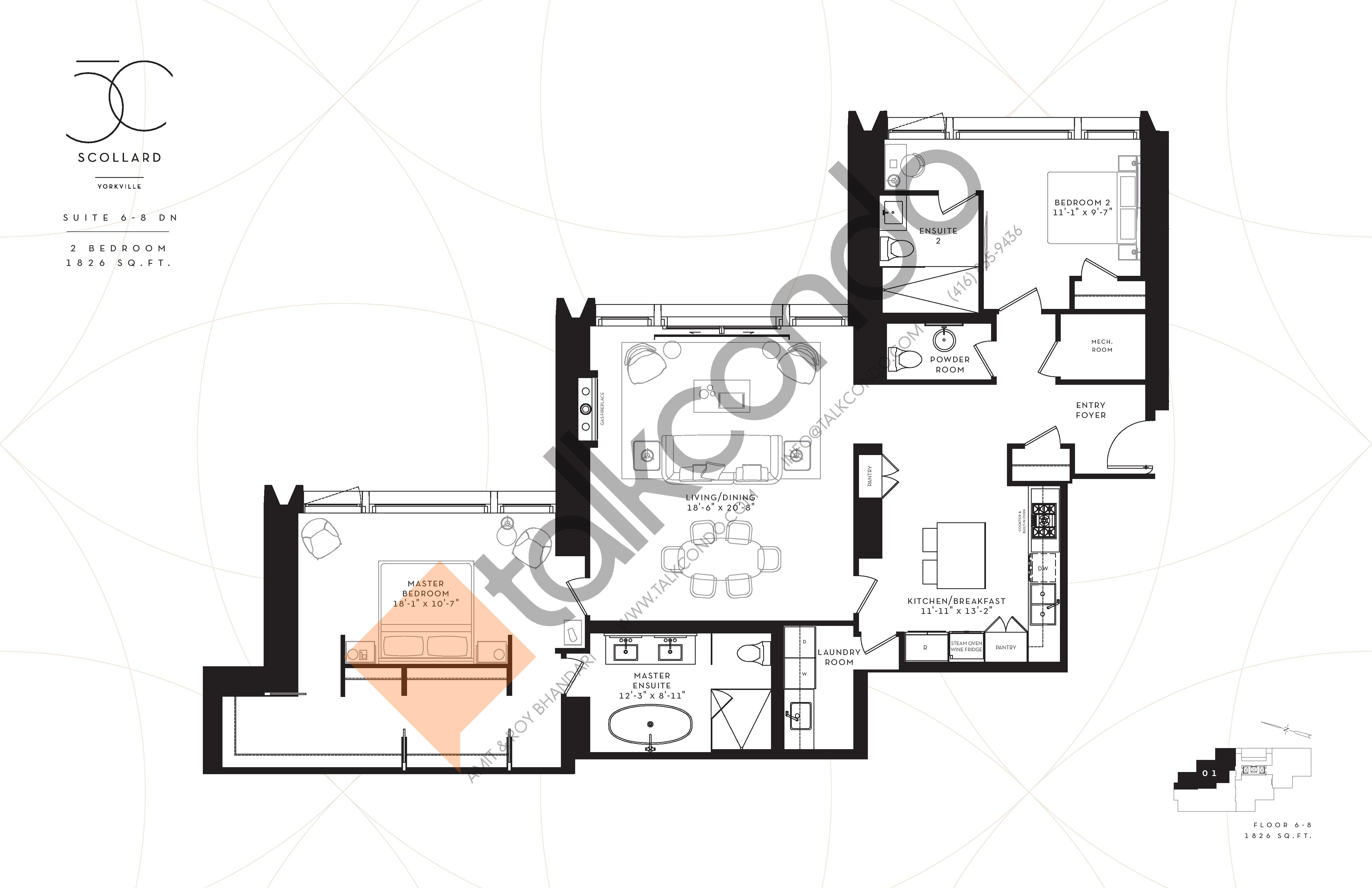 Suite 6-8 DN Floor Plan at Fifty Scollard Condos - 1826 sq.ft