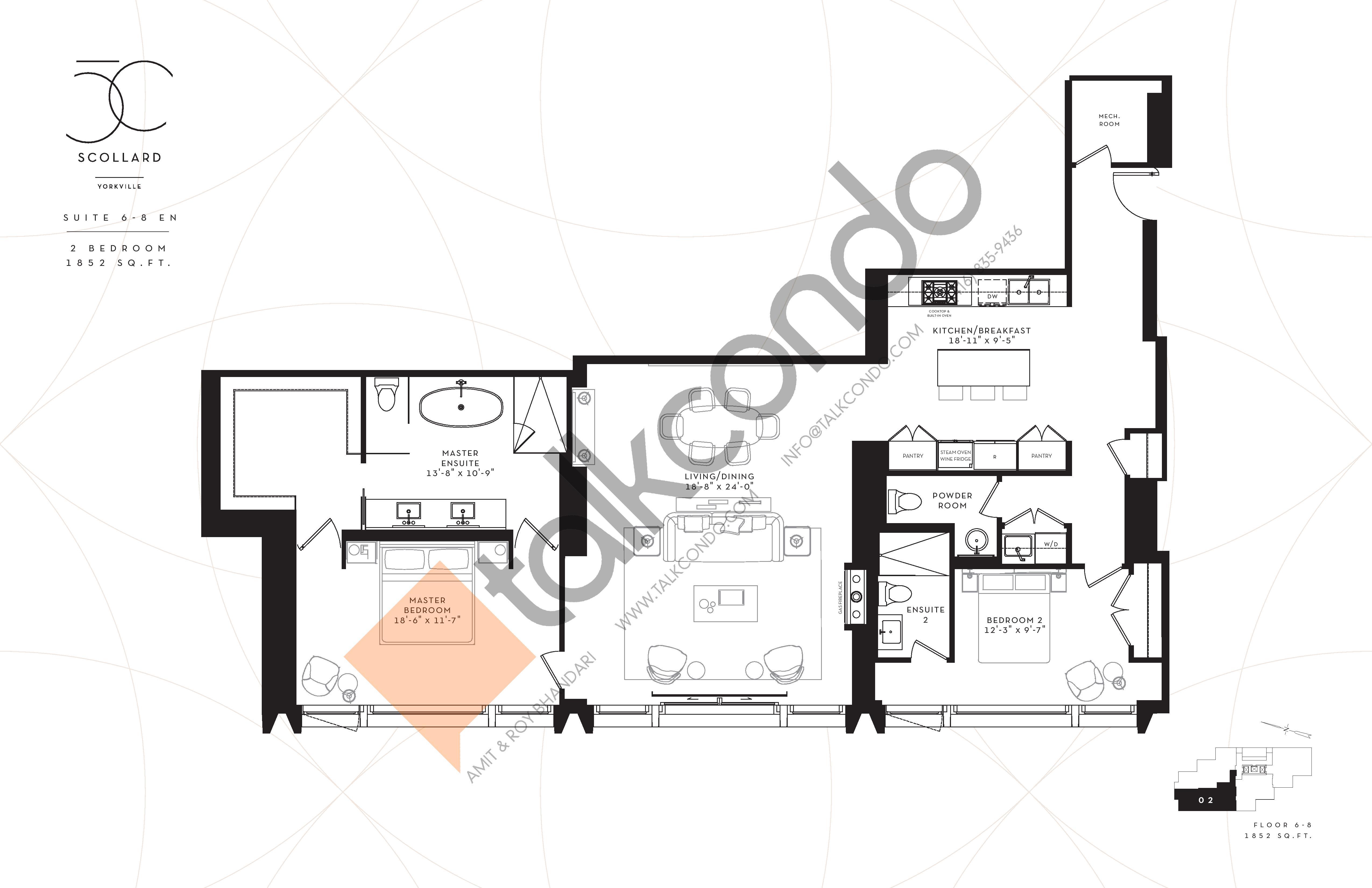 Suite 6-8 EN Floor Plan at Fifty Scollard Condos - 1852 sq.ft