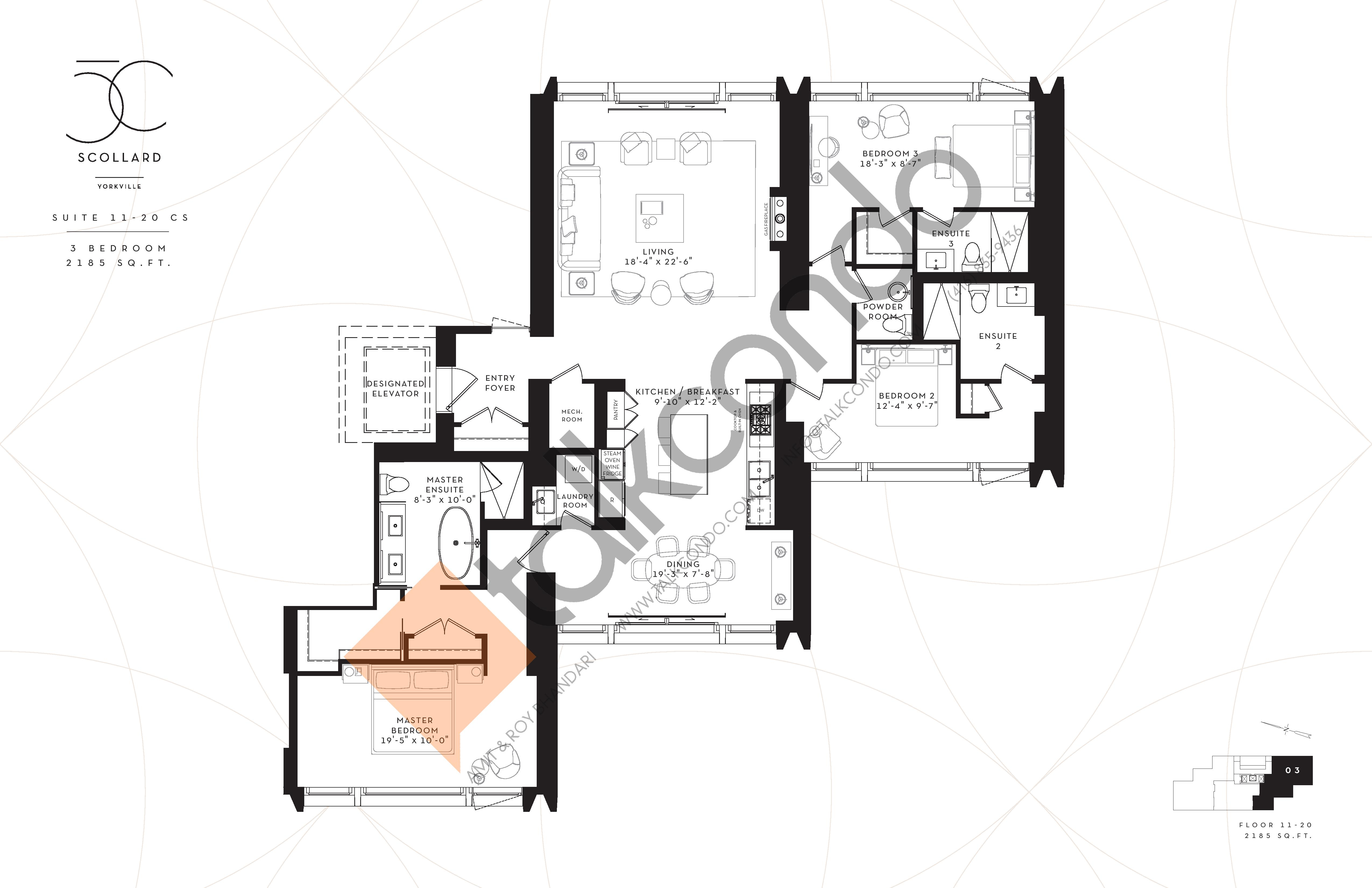 Suite 11-20 CS Floor Plan at Fifty Scollard Condos - 2185 sq.ft
