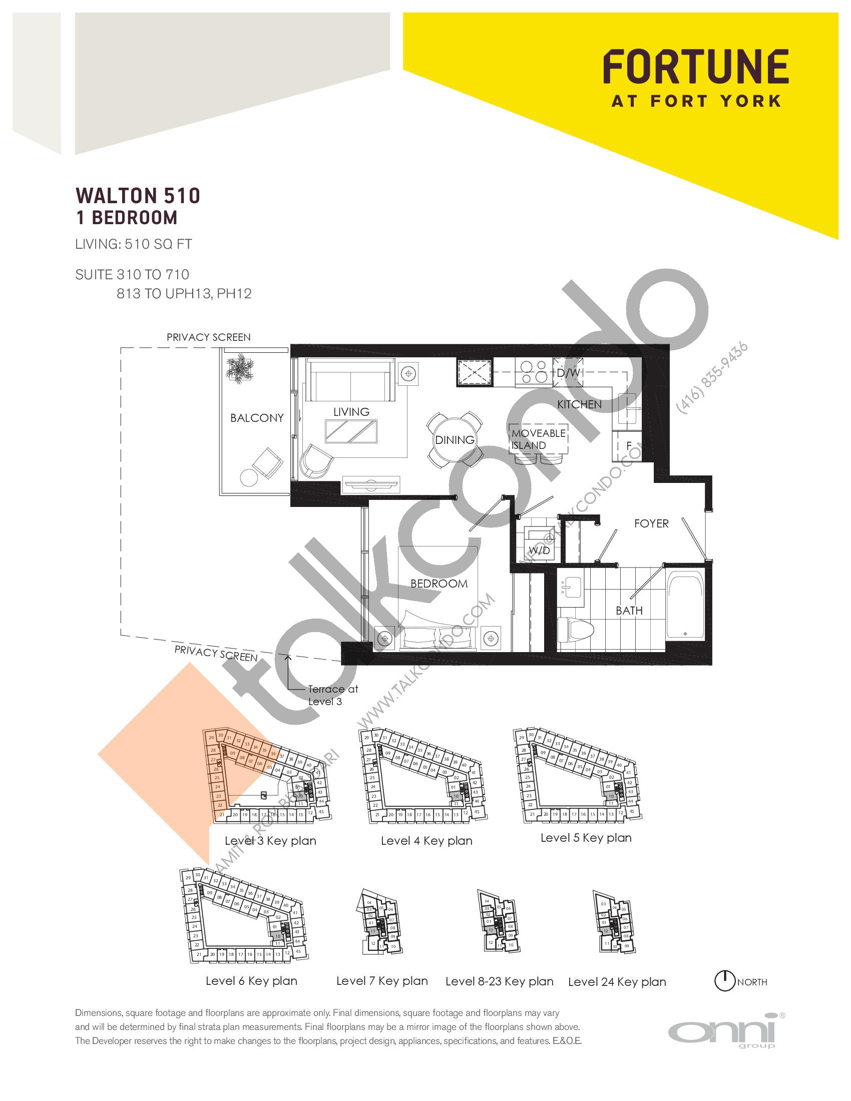 Walton 510 Floor Plan at Fortune at Fort York - 510 sq.ft