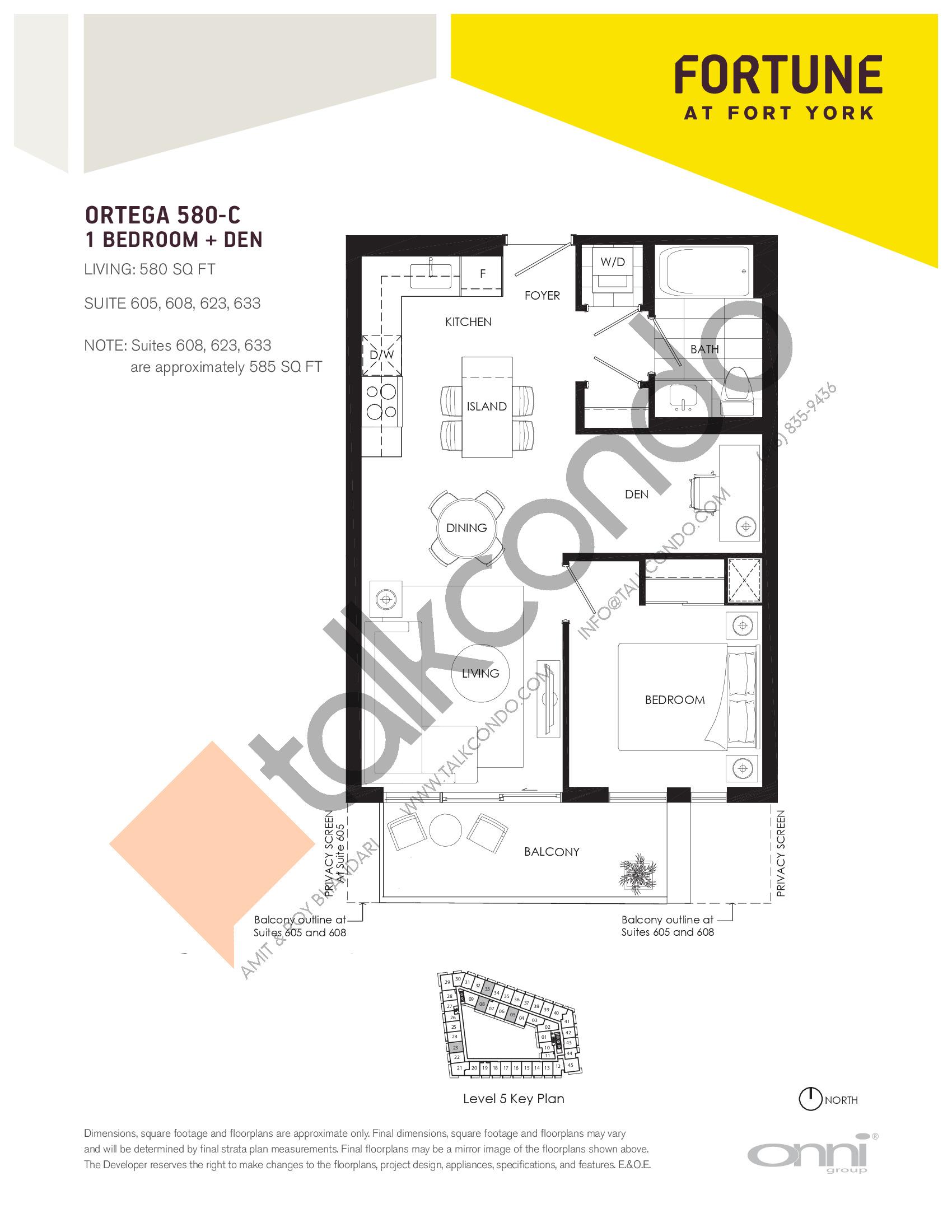 Ortega 580-C Floor Plan at Fortune at Fort York - 580 sq.ft