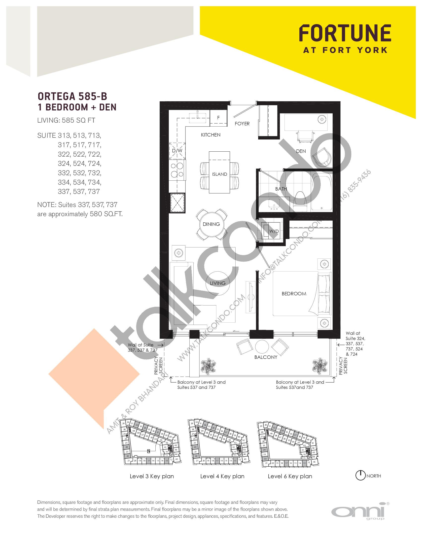 Ortega 585-B Floor Plan at Fortune at Fort York - 585 sq.ft