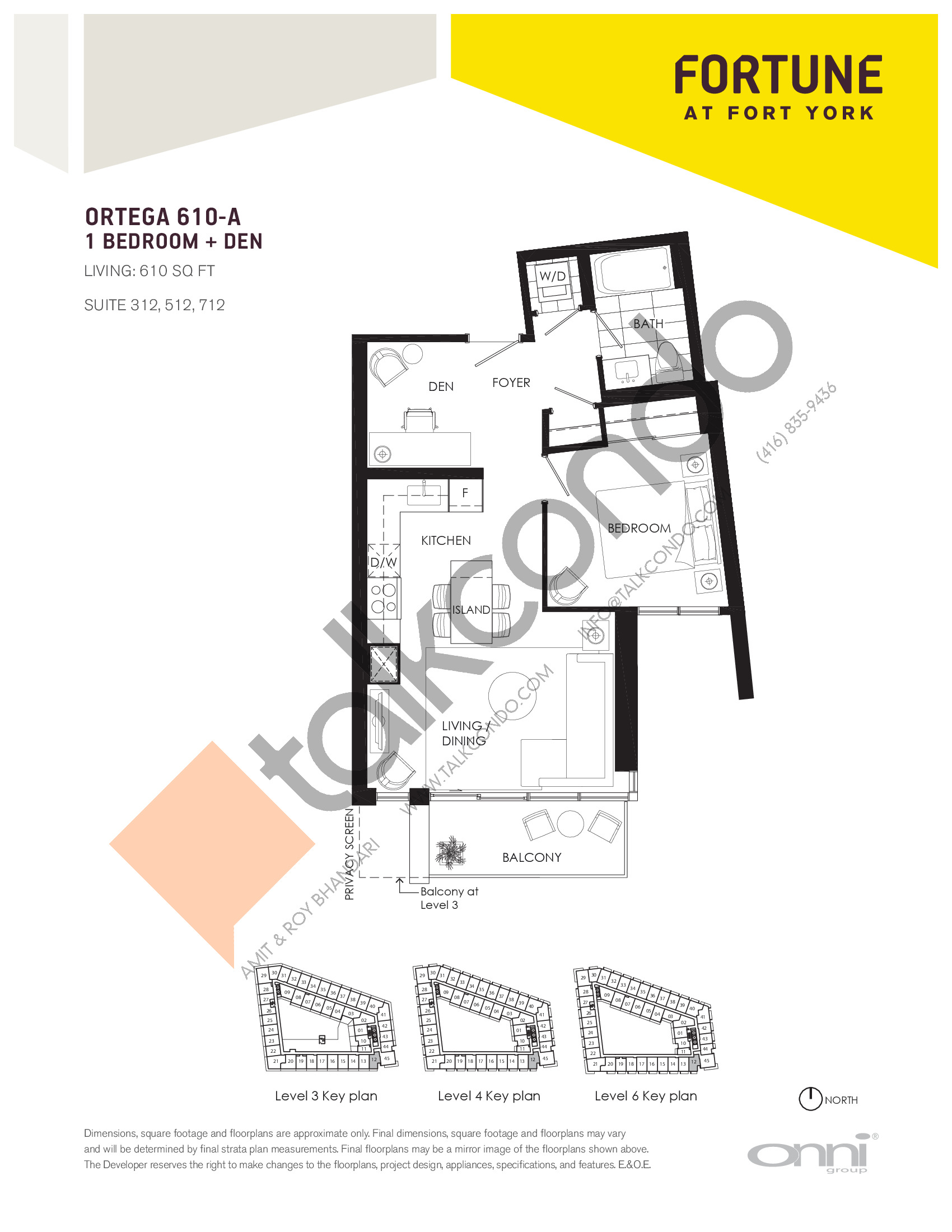 Ortega 610-A Floor Plan at Fortune at Fort York - 610 sq.ft