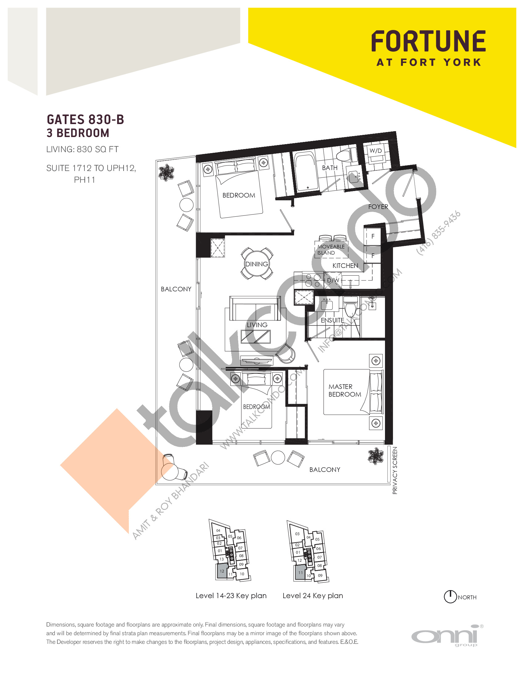 Gates 830-B Floor Plan at Fortune at Fort York - 830 sq.ft